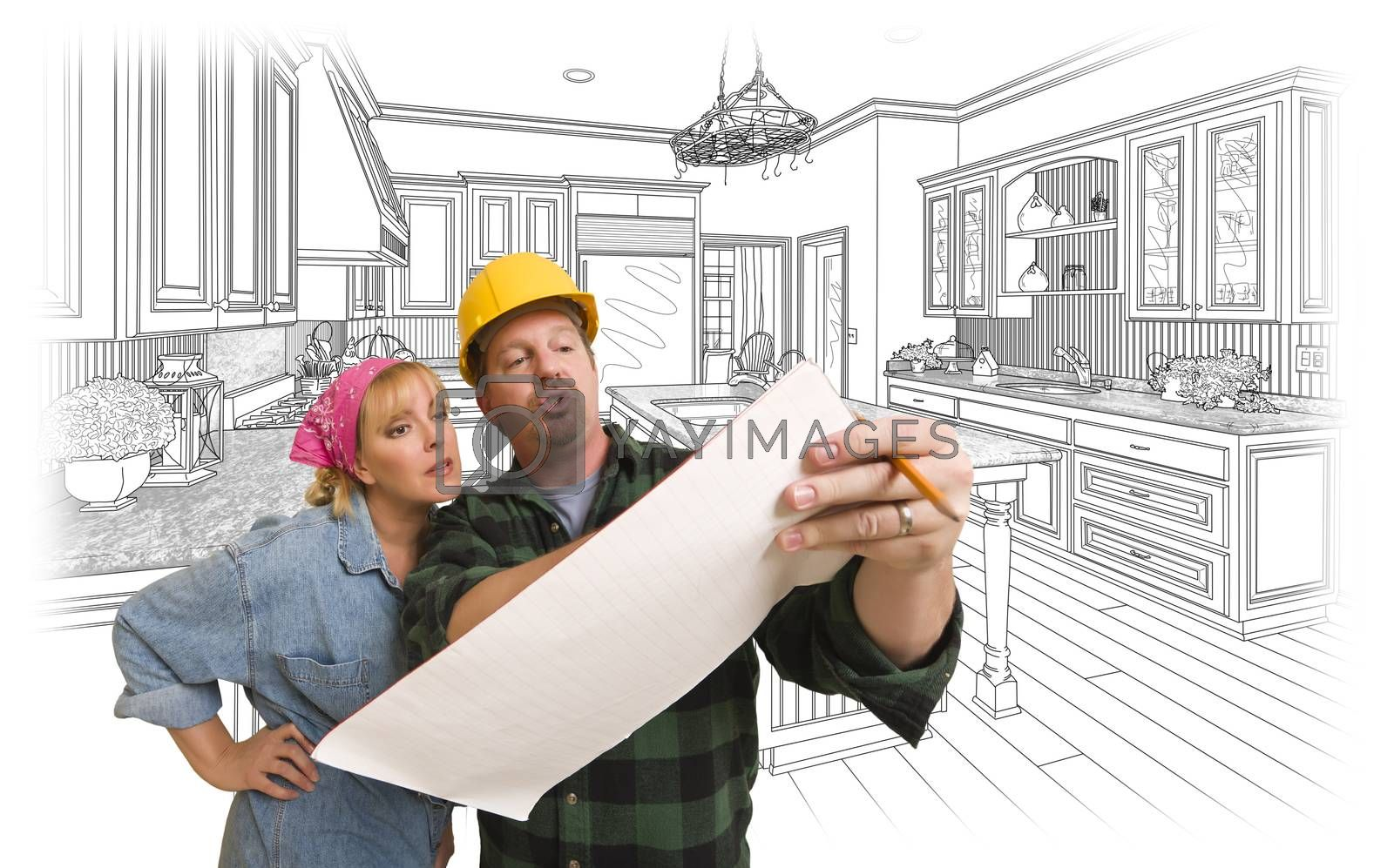 Royalty free image of Contractor Discussing Plans with Woman, Kitchen Drawing Behind by Feverpitched