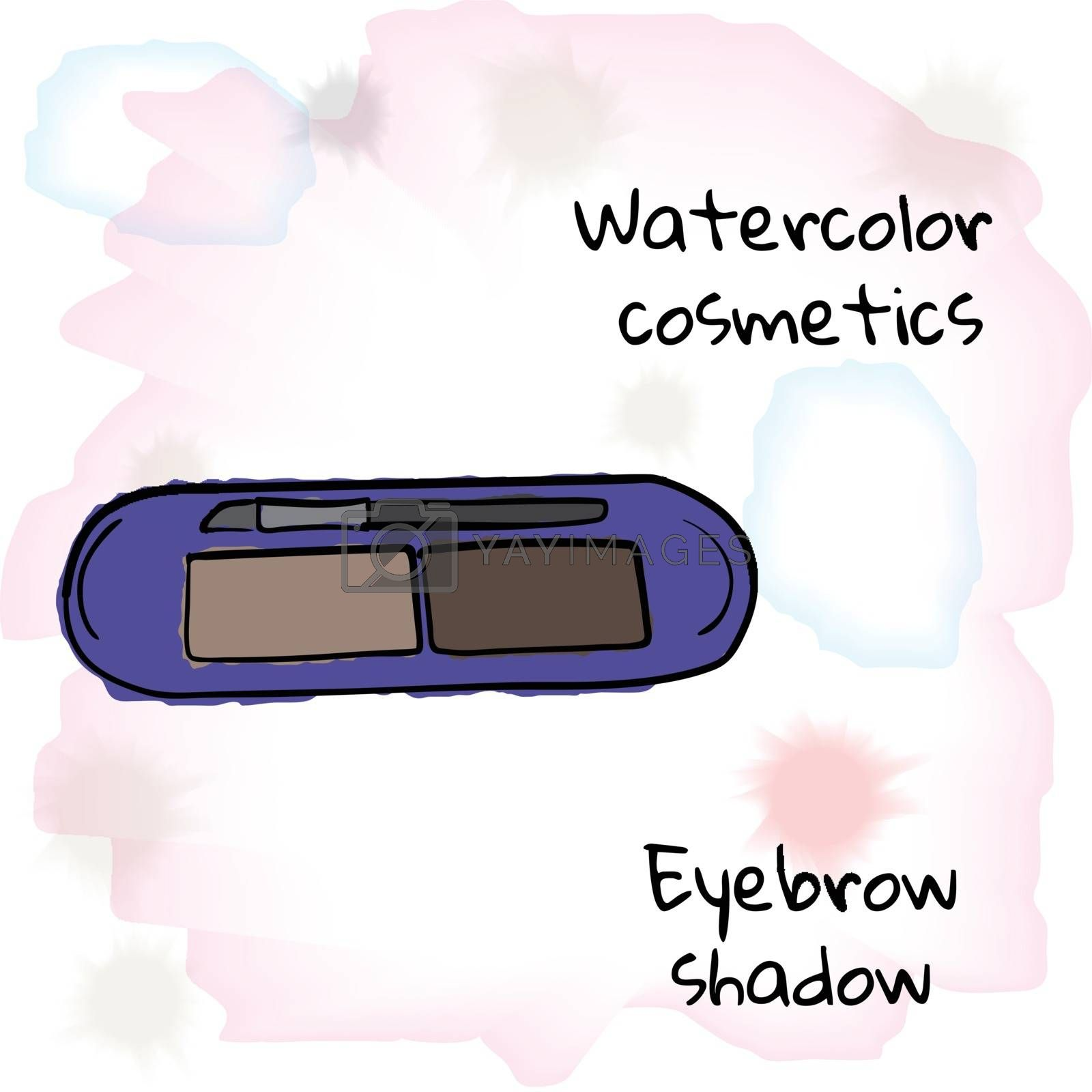Royalty free image of Watercolor cosmetics. Watercolor eyebrow shadow on a blurred background by CrisPersonally