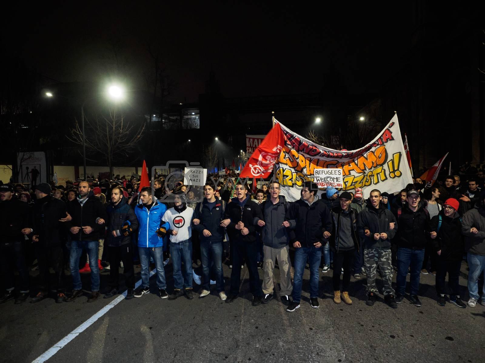 Royalty free image of ITALY - POLITICS - ANTI-FASCIST PROTEST by newzulu