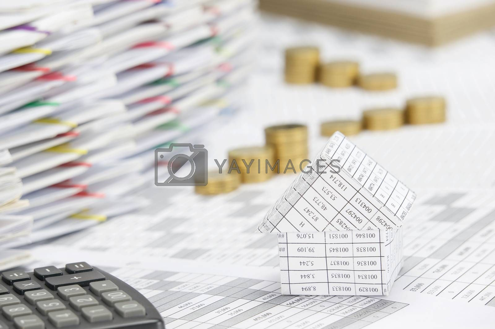 Close up house have blur step of gold coins background by eaglesky