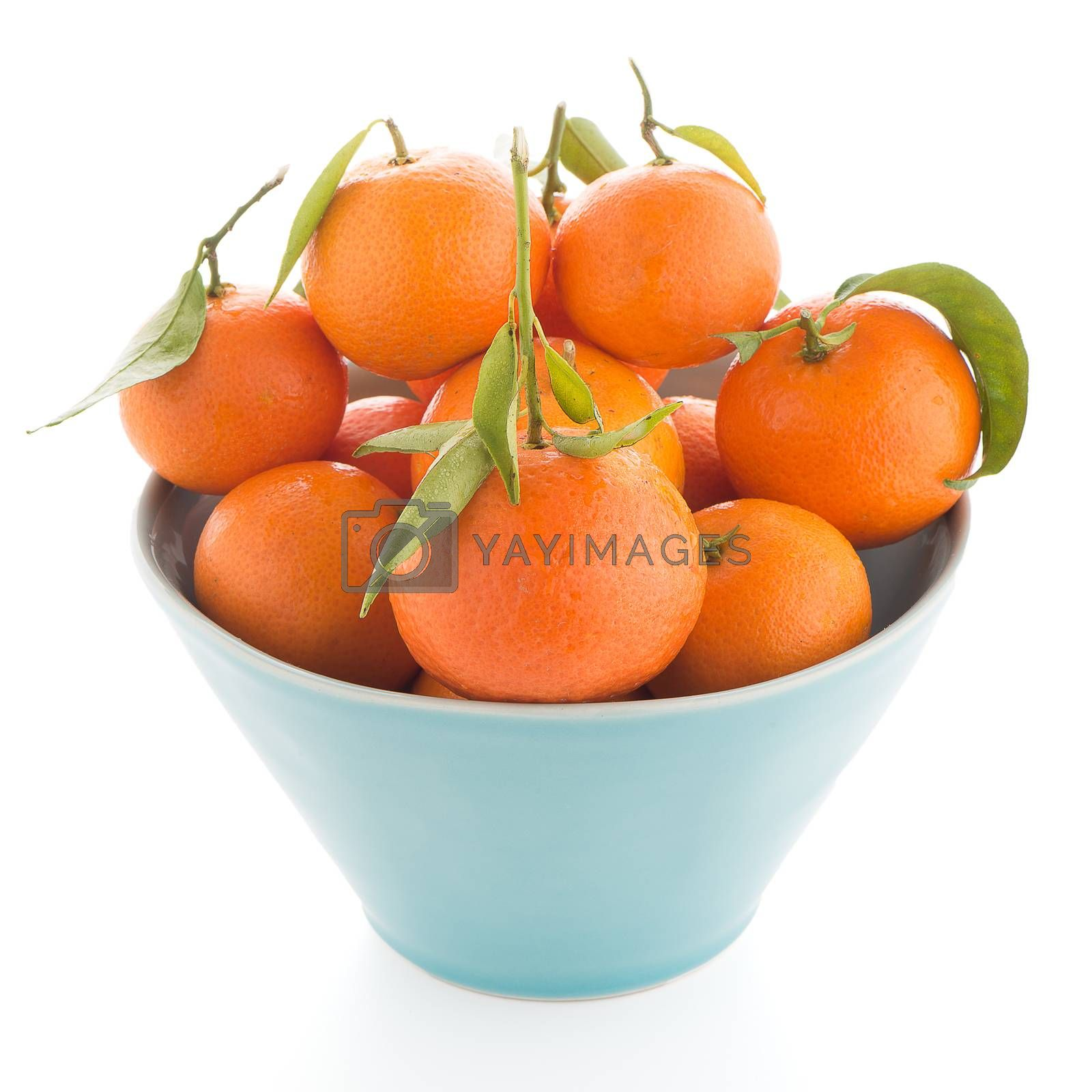 Tangerines on ceramic blue bowl  by homydesign