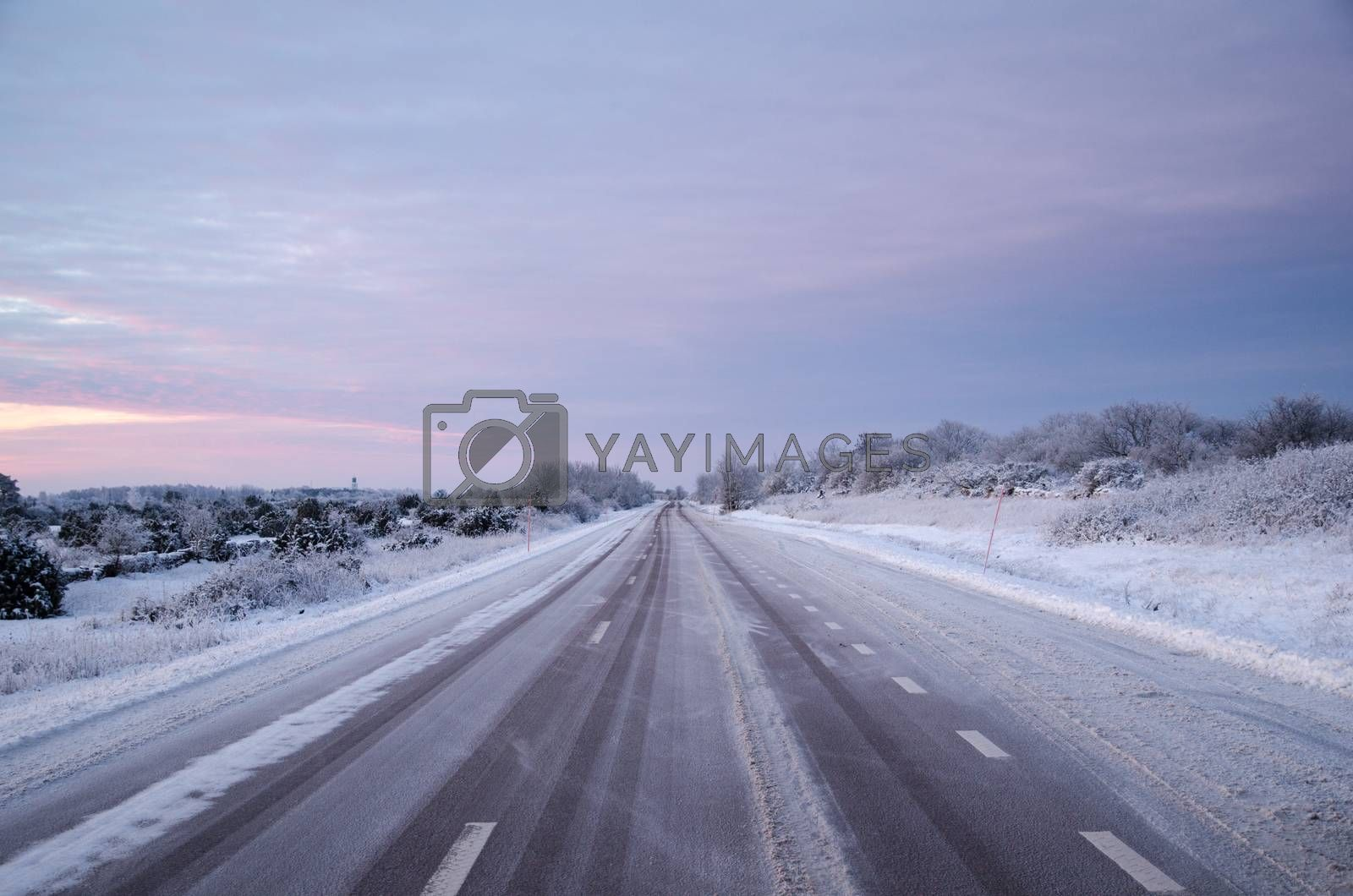 Royalty free image of Snowy asphalt country road by olandsfokus