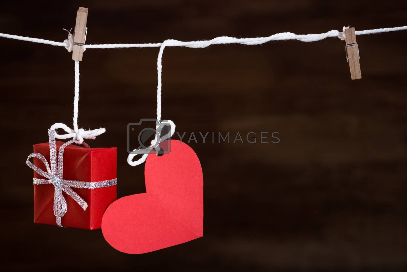heart love and gift on clothes line