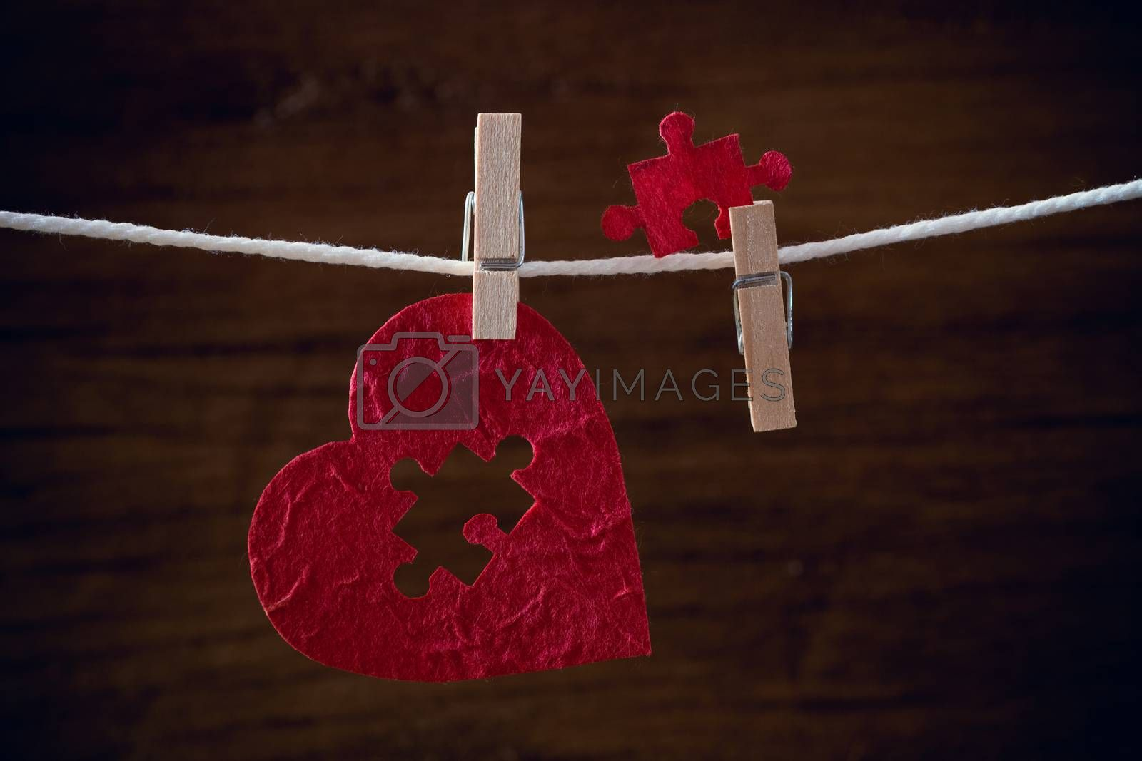 heart love jigsaw on cloth rope