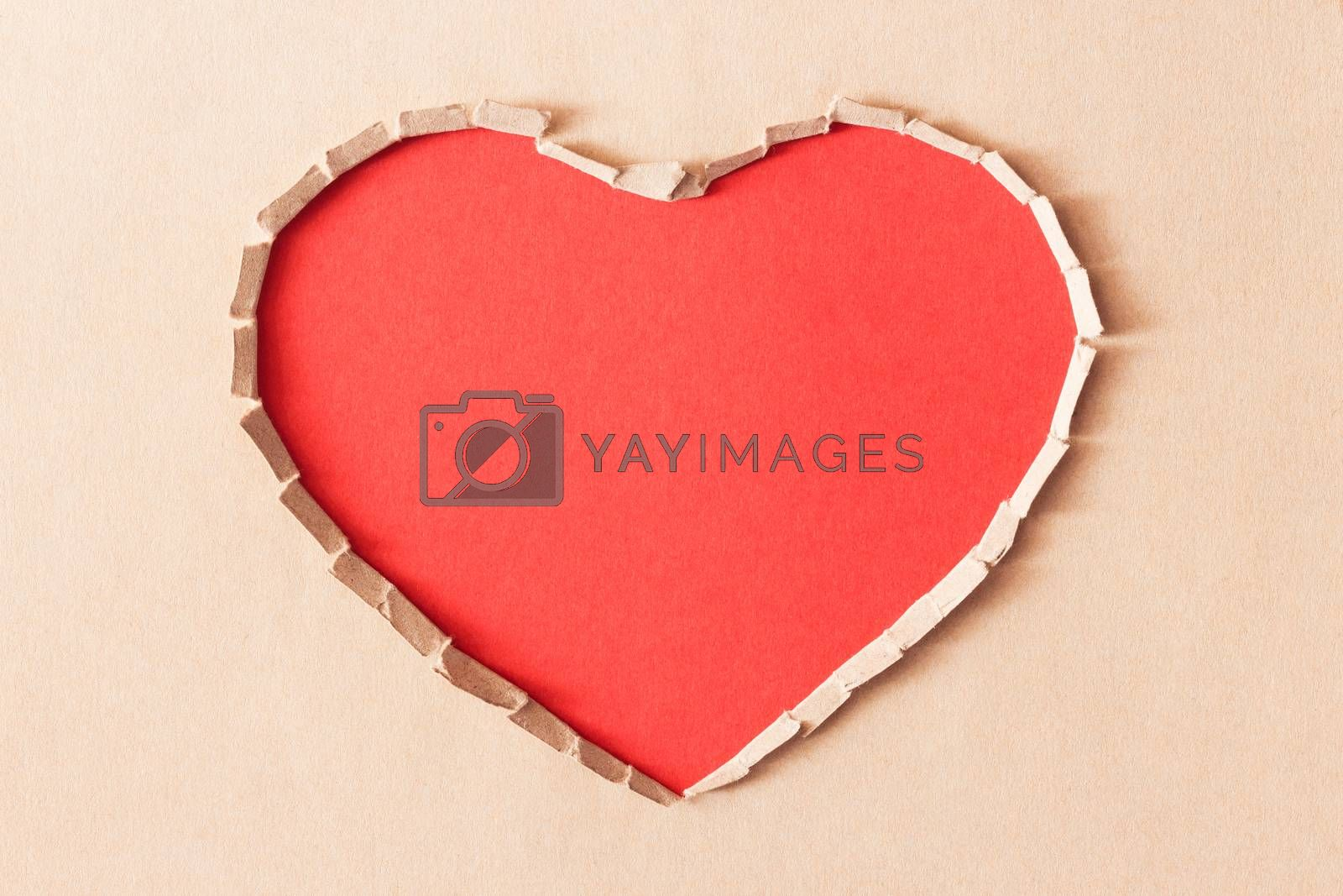 love ripped symbol artificial from paper