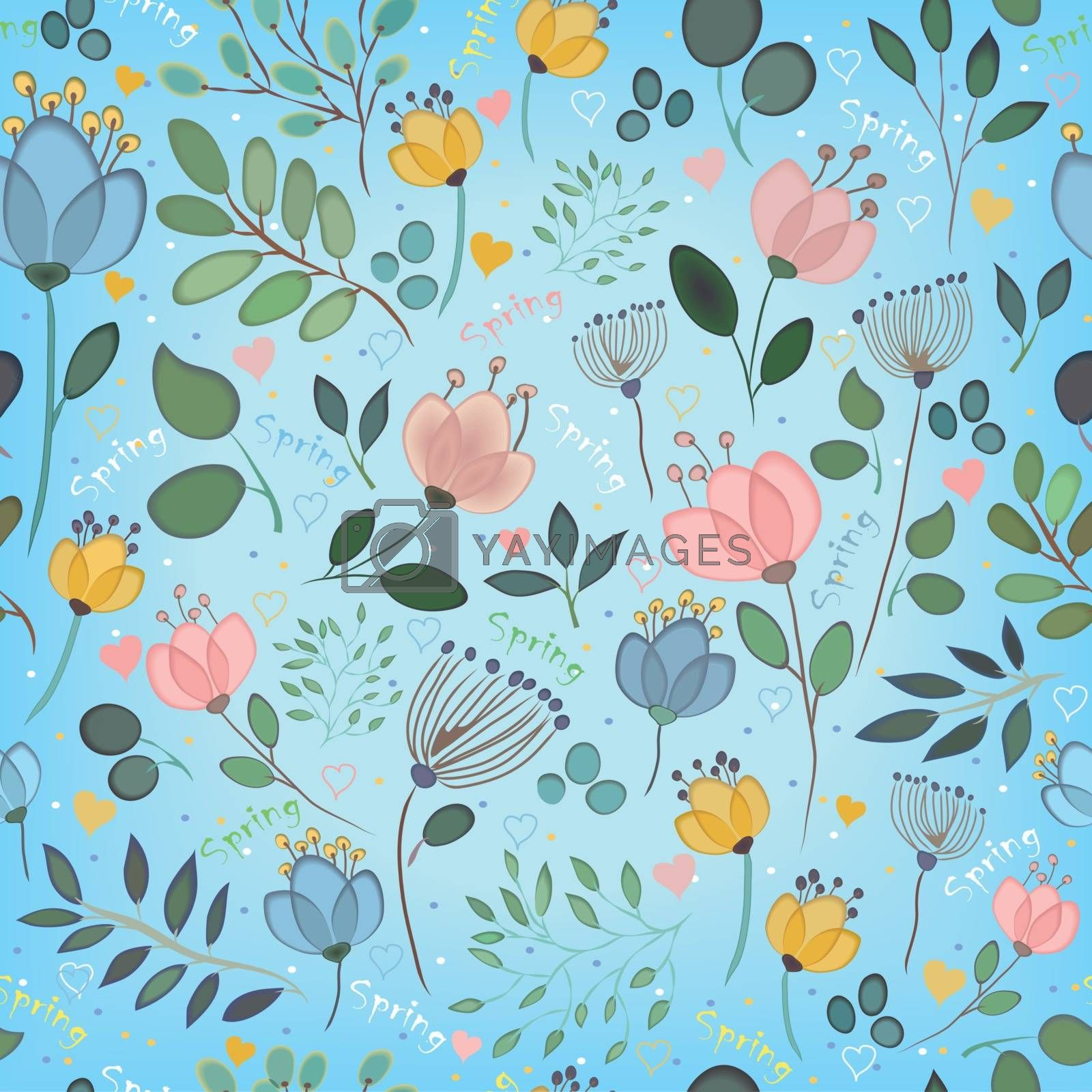 Royalty free image of Vector seamless pattern. Watercolor flowers  by prolegowoman