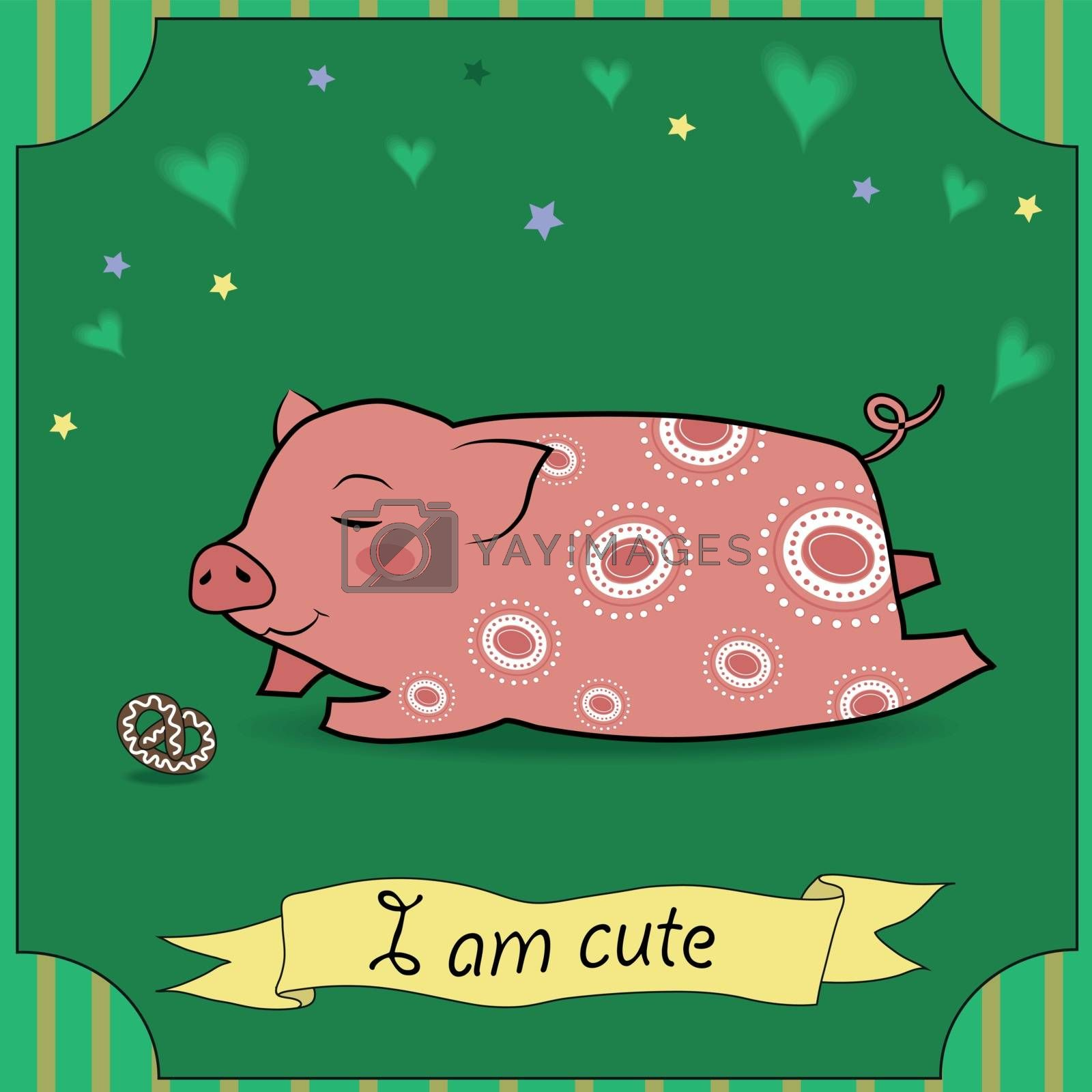Royalty free image of Cute Pig with cake by prolegowoman