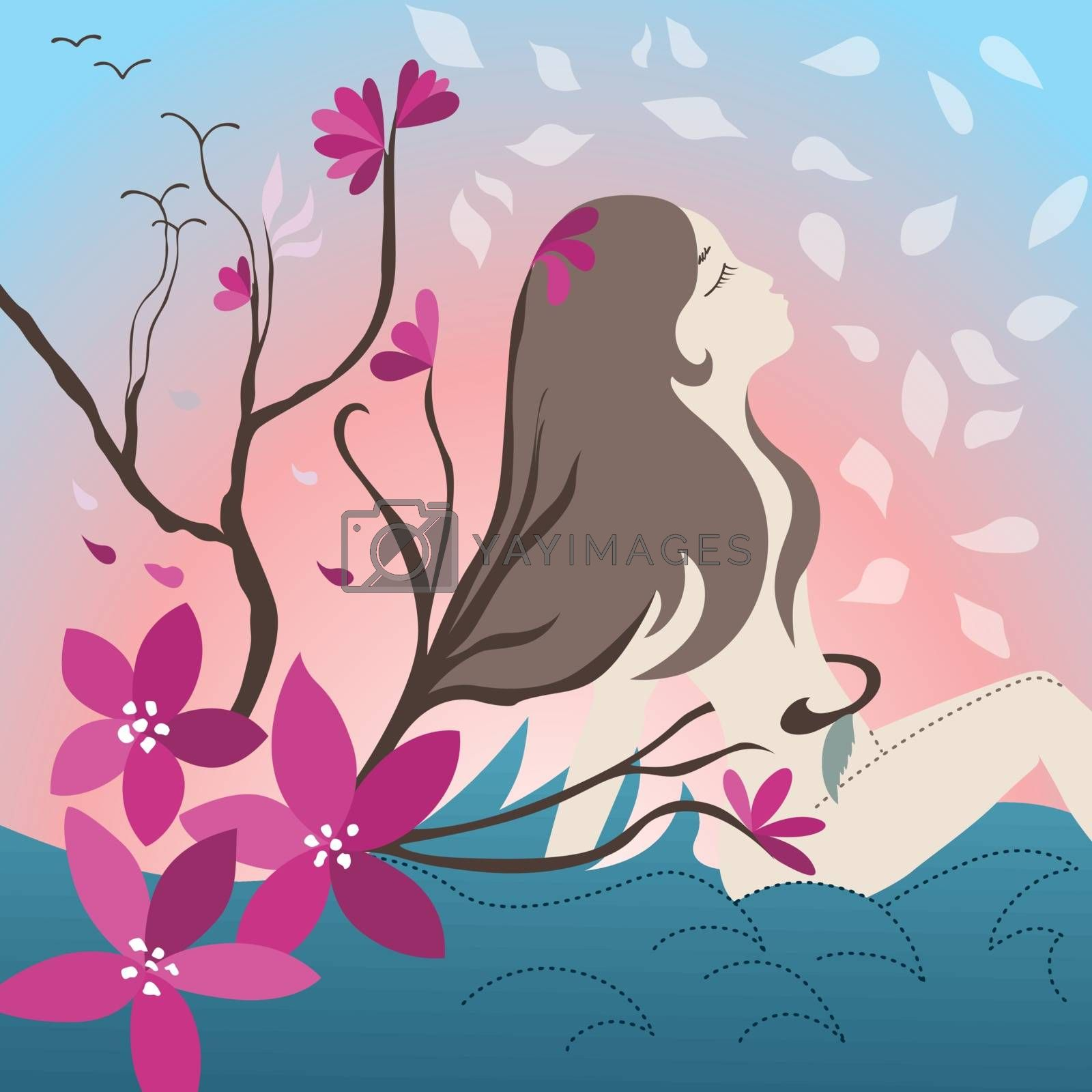 Royalty free image of Young girl with blossoming trees by kisika