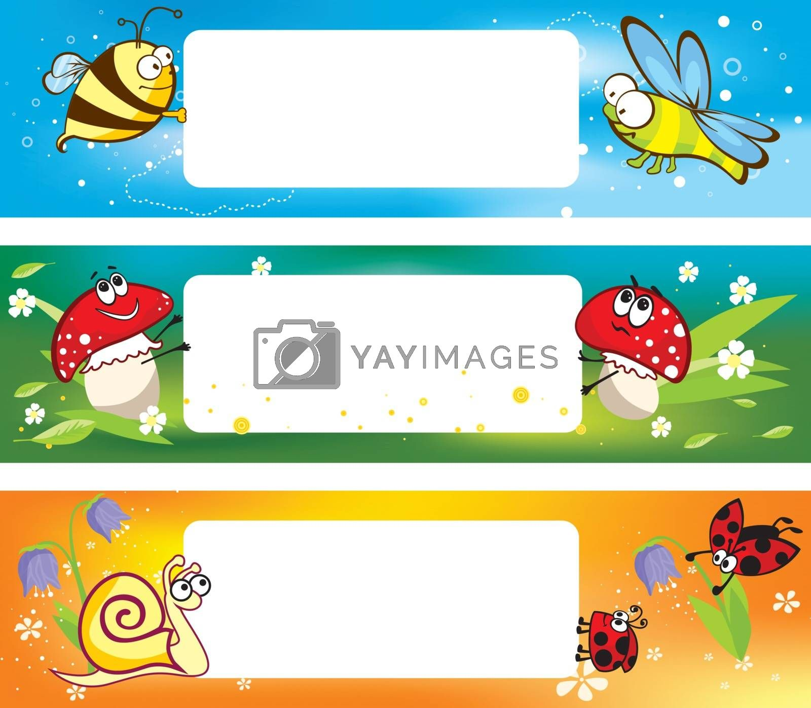 Royalty free image of Spring banners with funny insects by kisika