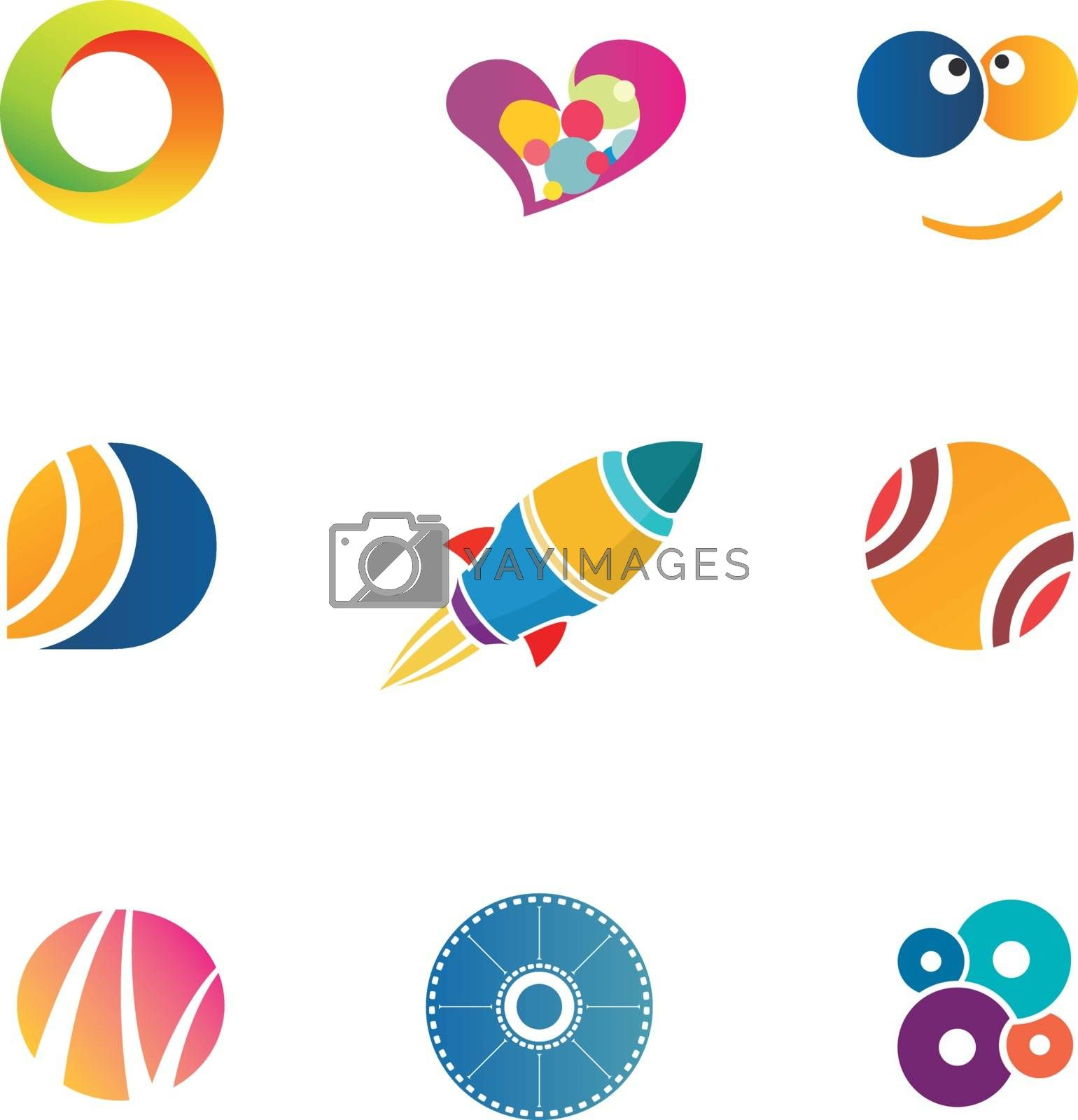 Royalty free image of Colorful abstact icons set by kisika
