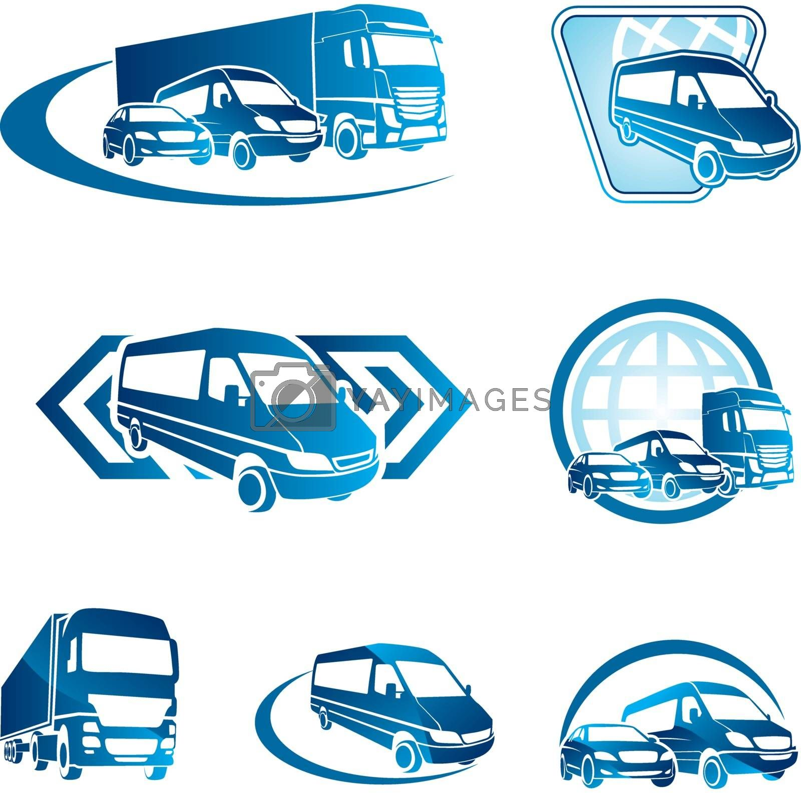 Royalty free image of Set of blue transport icons by kisika