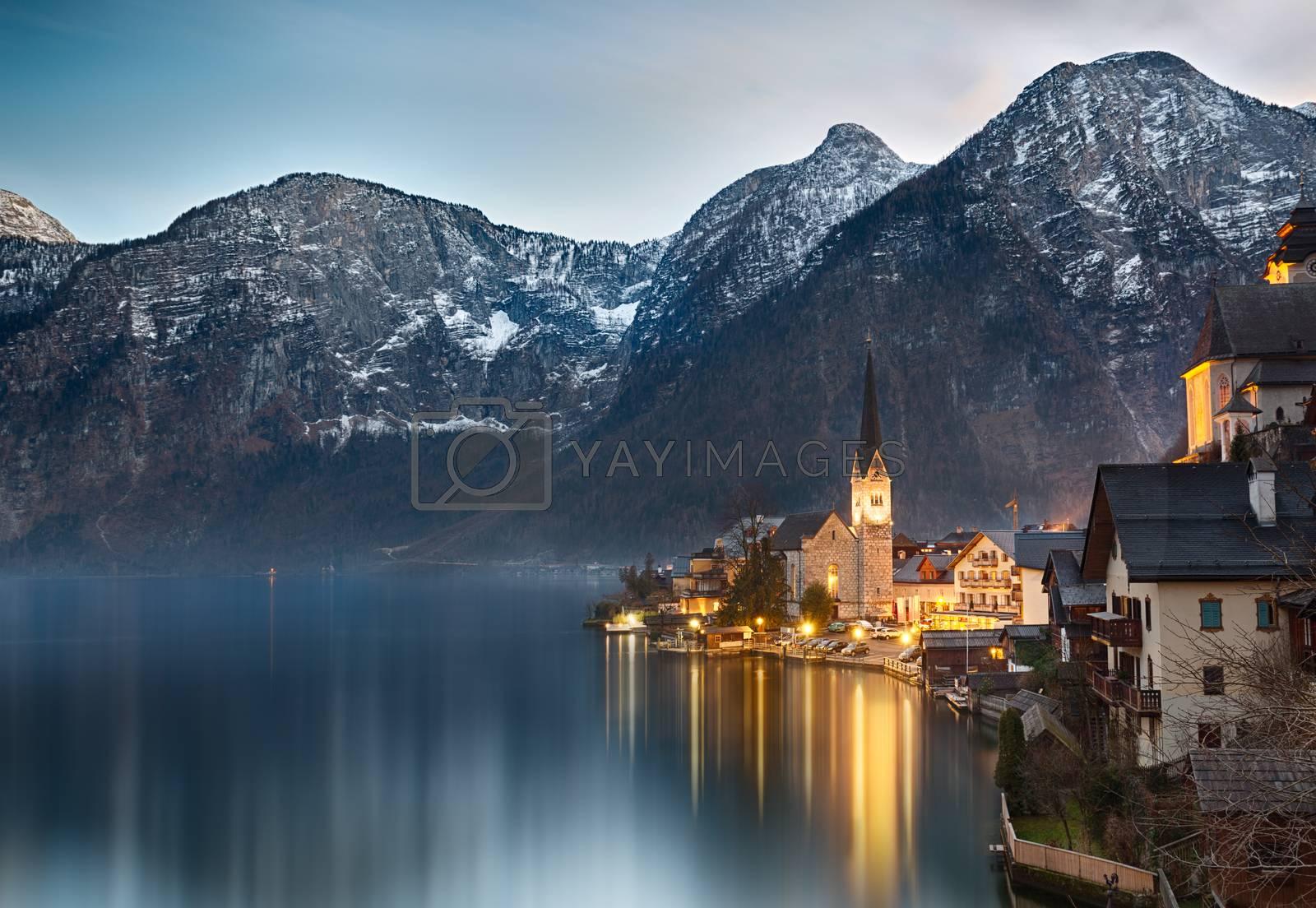 Royalty free image of Dusk at Lake Hallstatt, Salzkammergut, Austrian Alps by fisfra