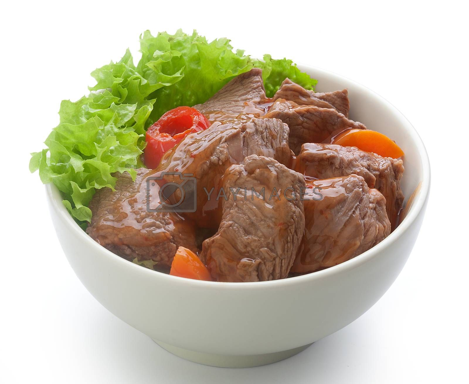 Royalty free image of Beef goulash with lettuce in the bowl by Angorius