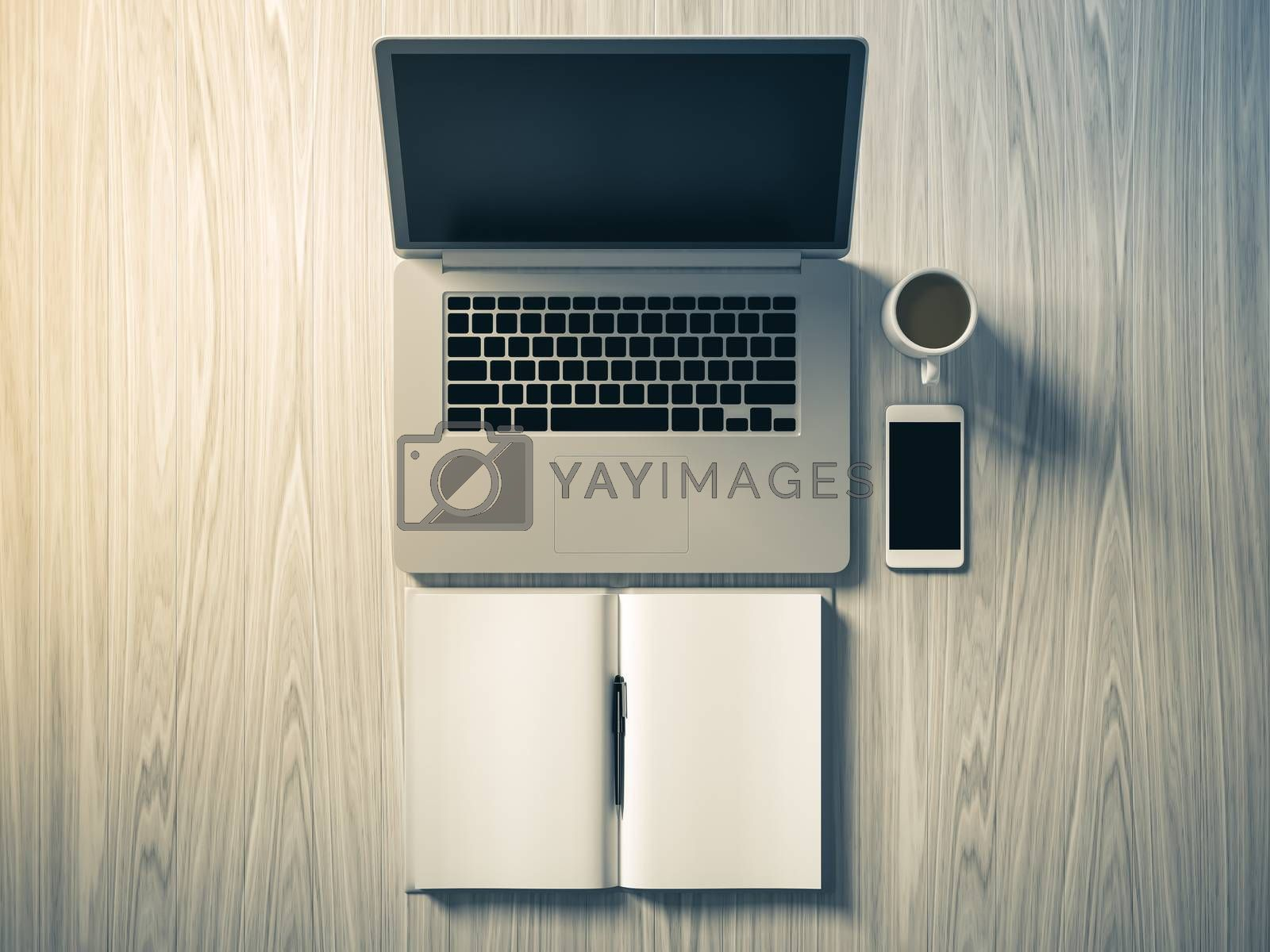 Royalty free image of High angle view of a setting table of business workplace. by teerawit