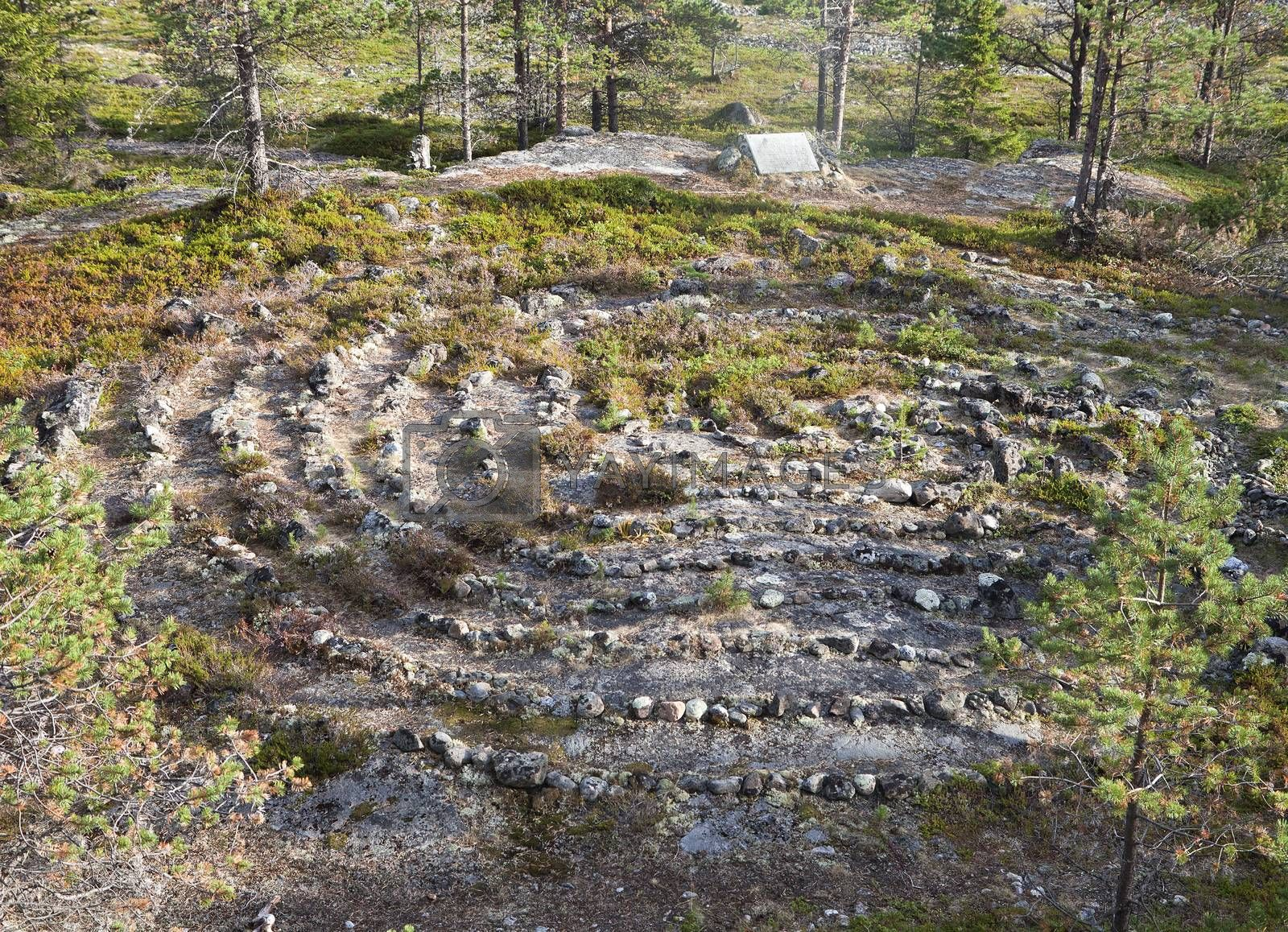 Royalty free image of Ancient labyrinth in Northern Russia by Goodday
