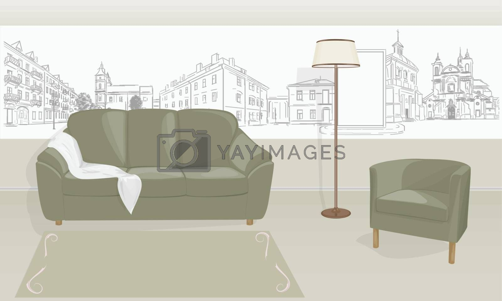 Royalty free image of room with a sofa  by sergeevana