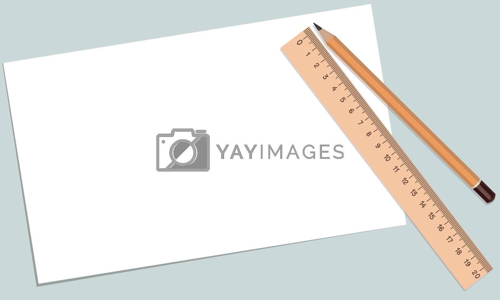 Royalty free image of paper pencil ruler by sergeevana