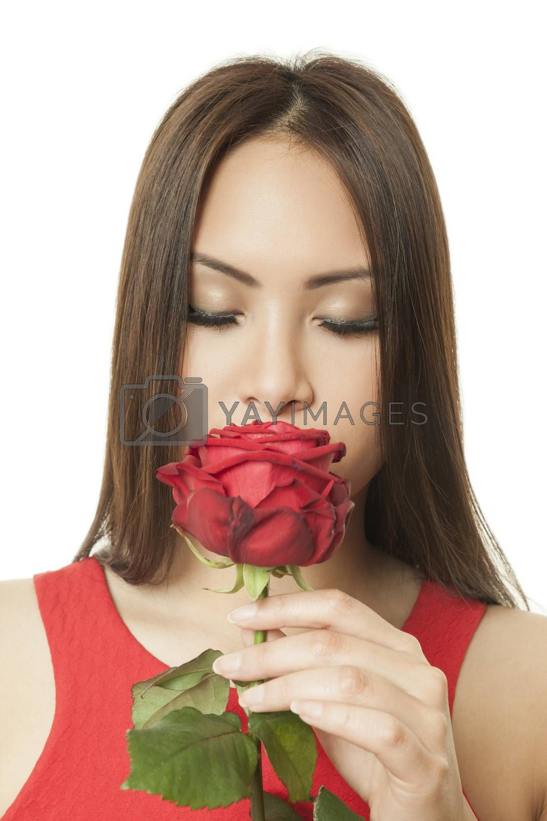 Royalty free image of asian woman red rose by magann