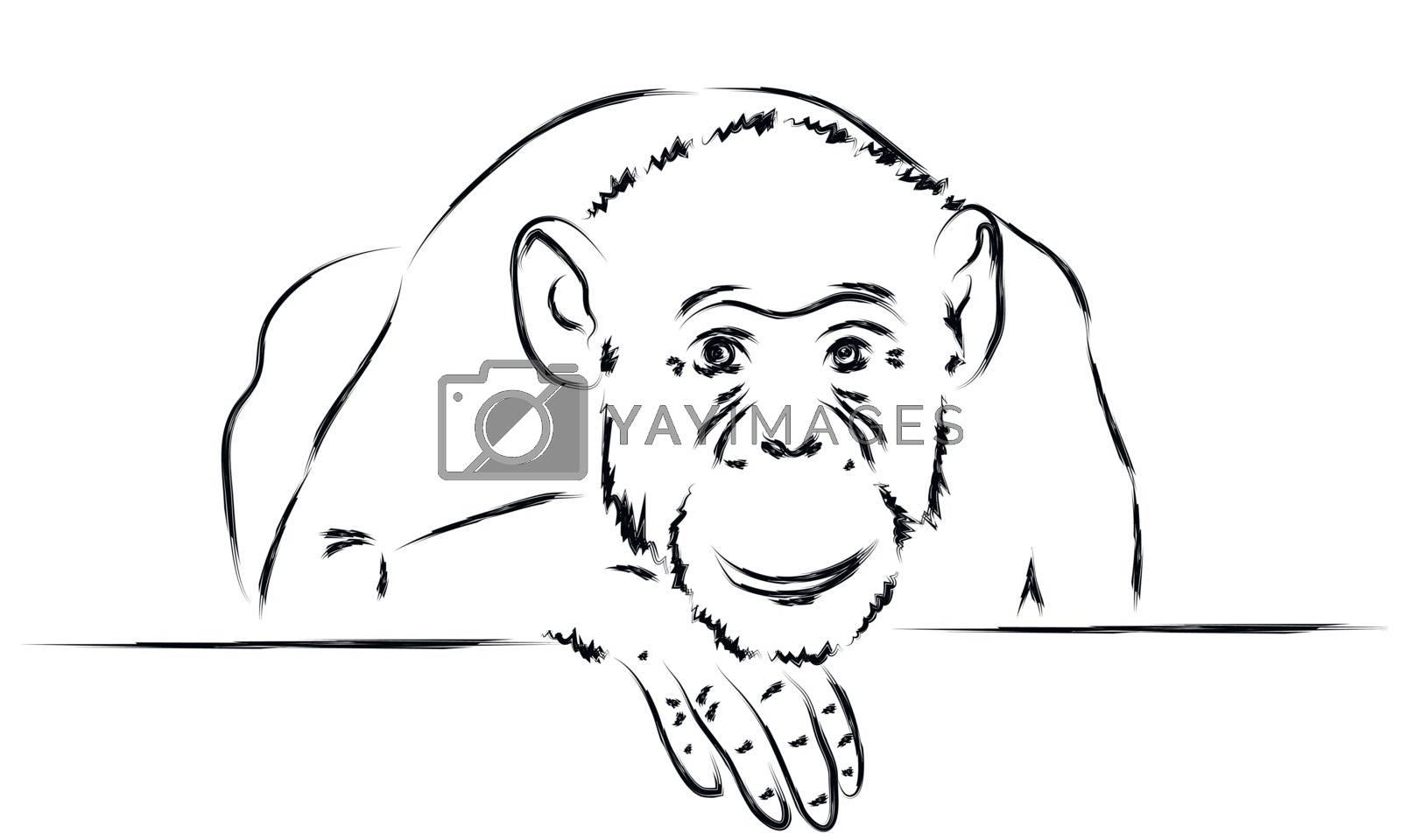 Sad monkey put her head on a paw  by sergeevana