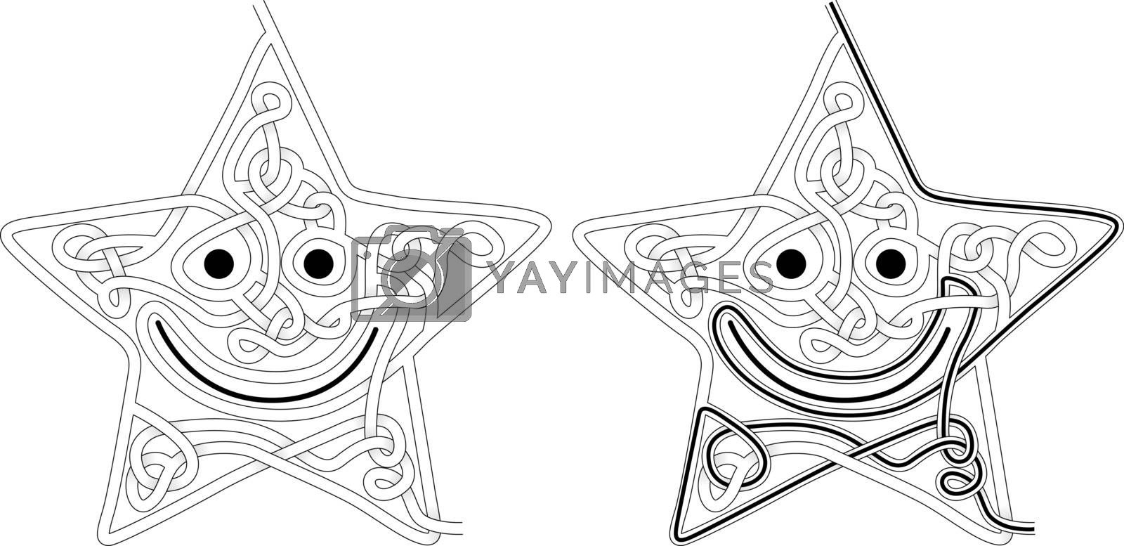 Star maze for kids with a solution in black and white