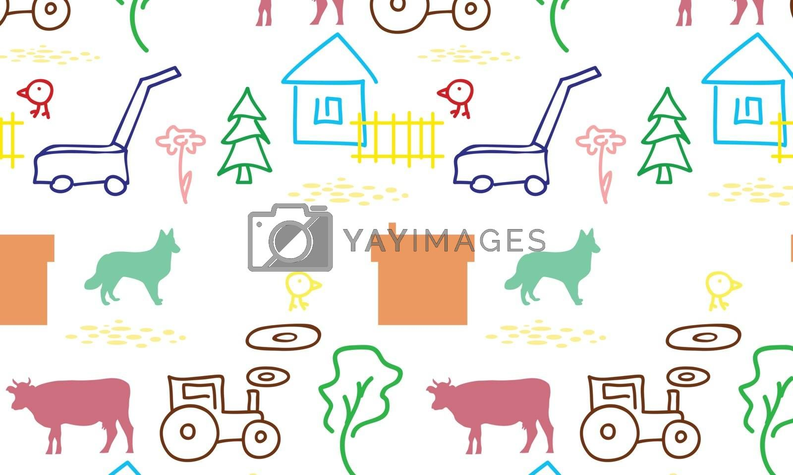 seamless pattern with a farm by sergeevana