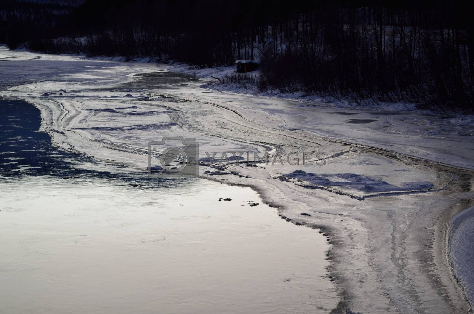 Royalty free image of beautiful icy river stream in wintertime by Finephotoworks