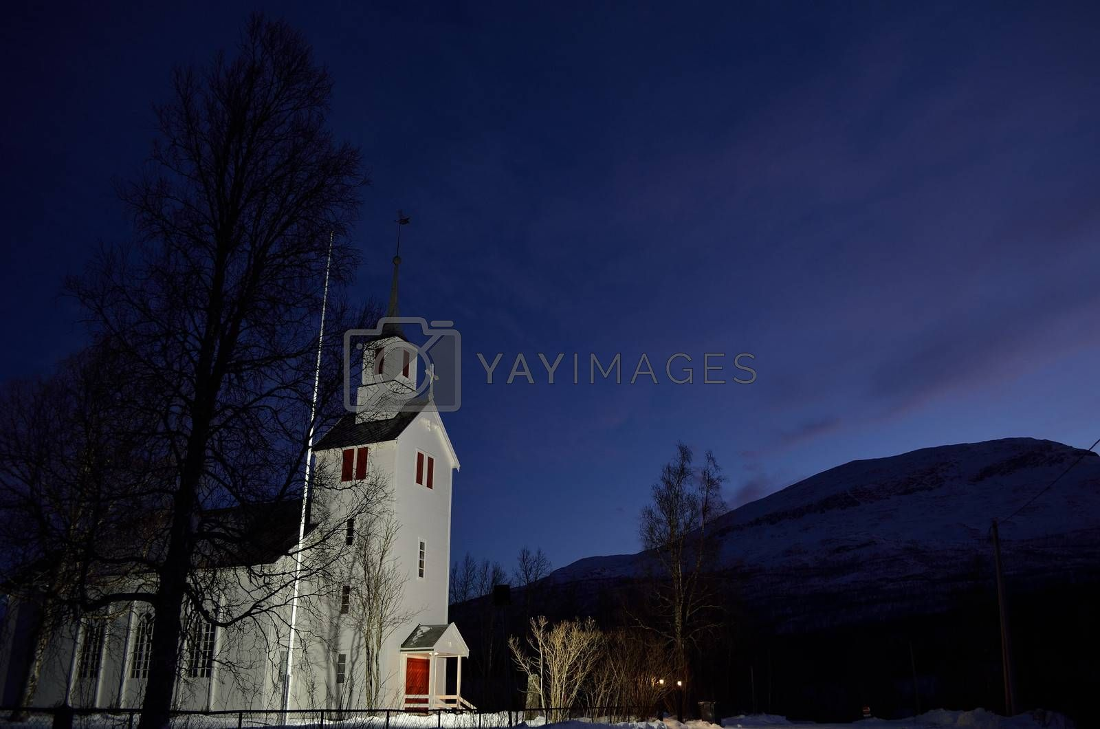Royalty free image of beautiful old church located near overbygd in northern norway by Finephotoworks