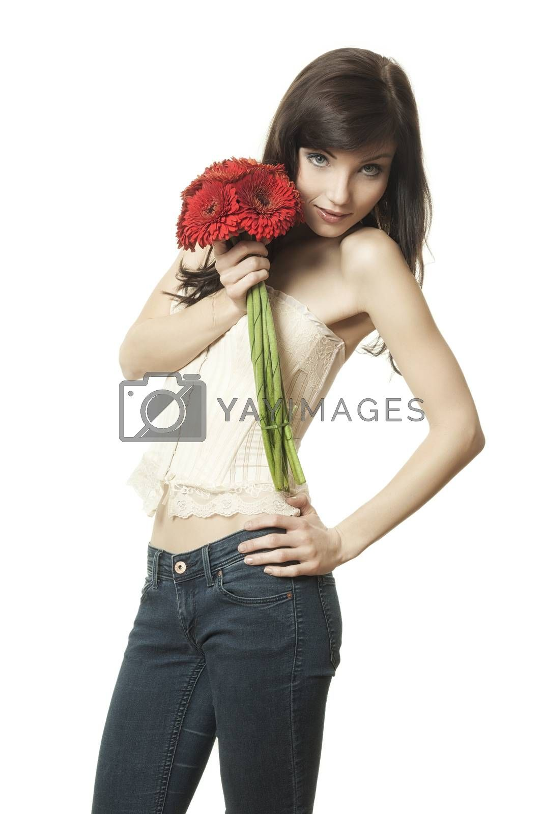 Royalty free image of woman with gerbera by magann