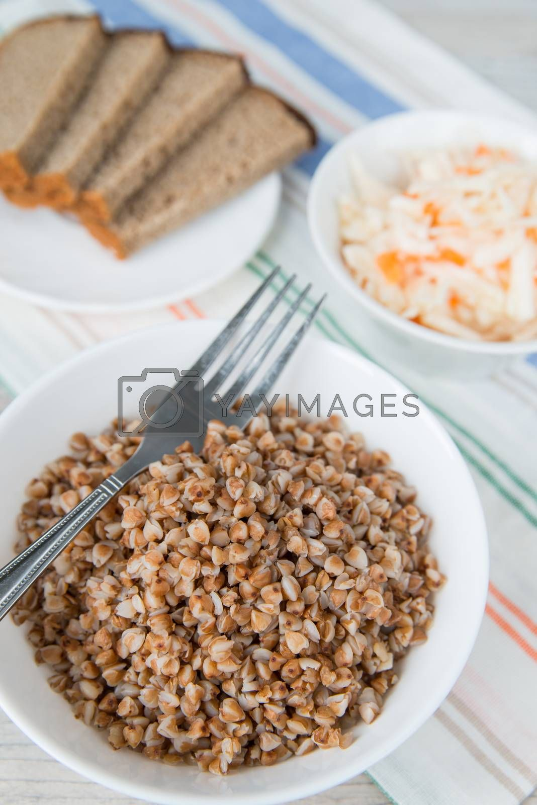 Royalty free image of Dinner with the buckwheat cereals by Linaga