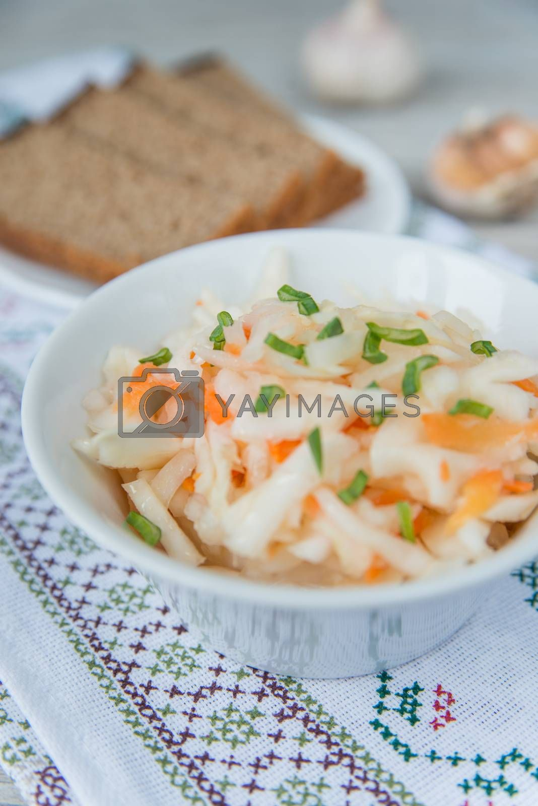Royalty free image of Plate of the sauerkraut  by Linaga