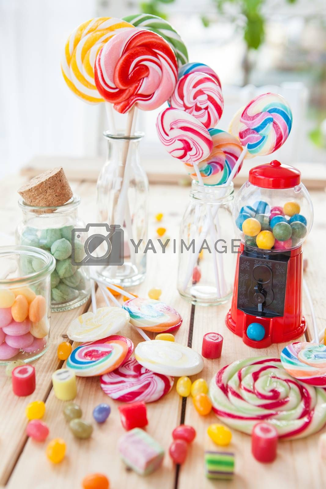 Royalty free image of Colorful popsicles and candy by BarbaraNeveu