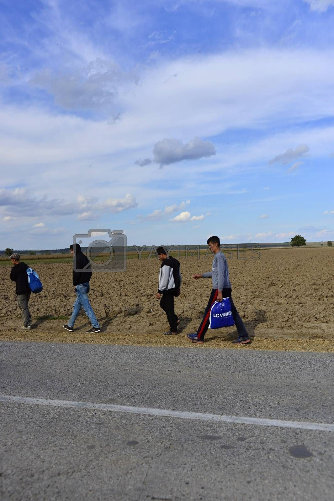 Royalty free image of refugees in Sid (Serbian - Croatina border) by radekprocyk