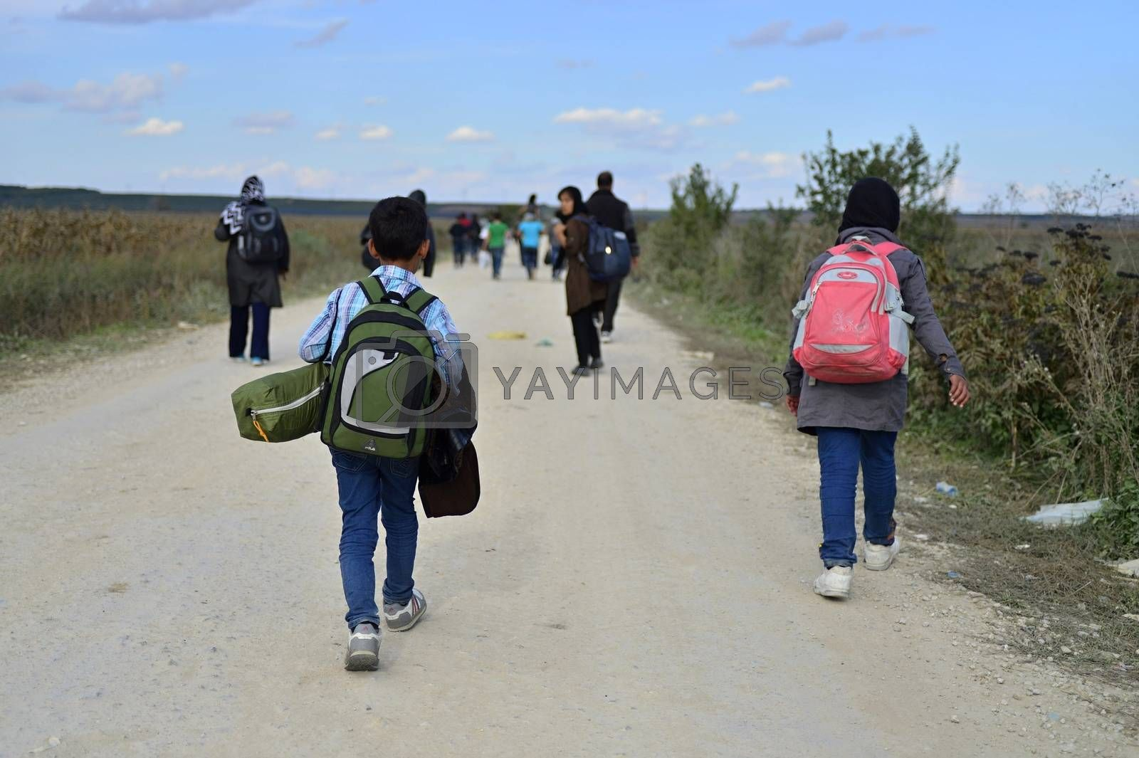 Royalty free image of refugees in Sid (Serbian - Croatina border) by radekprocyk