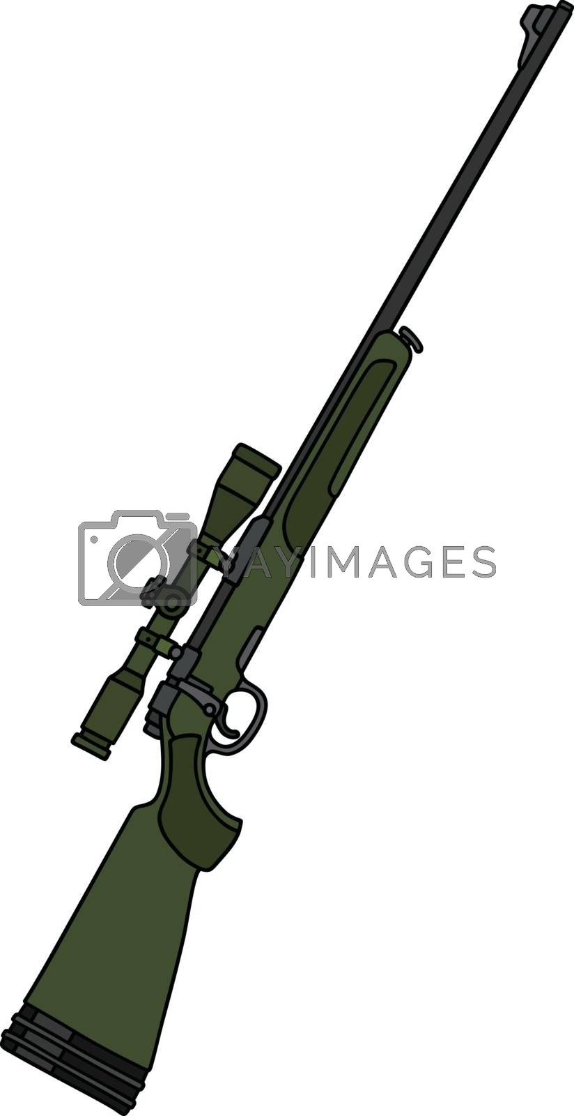 Royalty free image of Green hunting rifle with a telescope by vostal