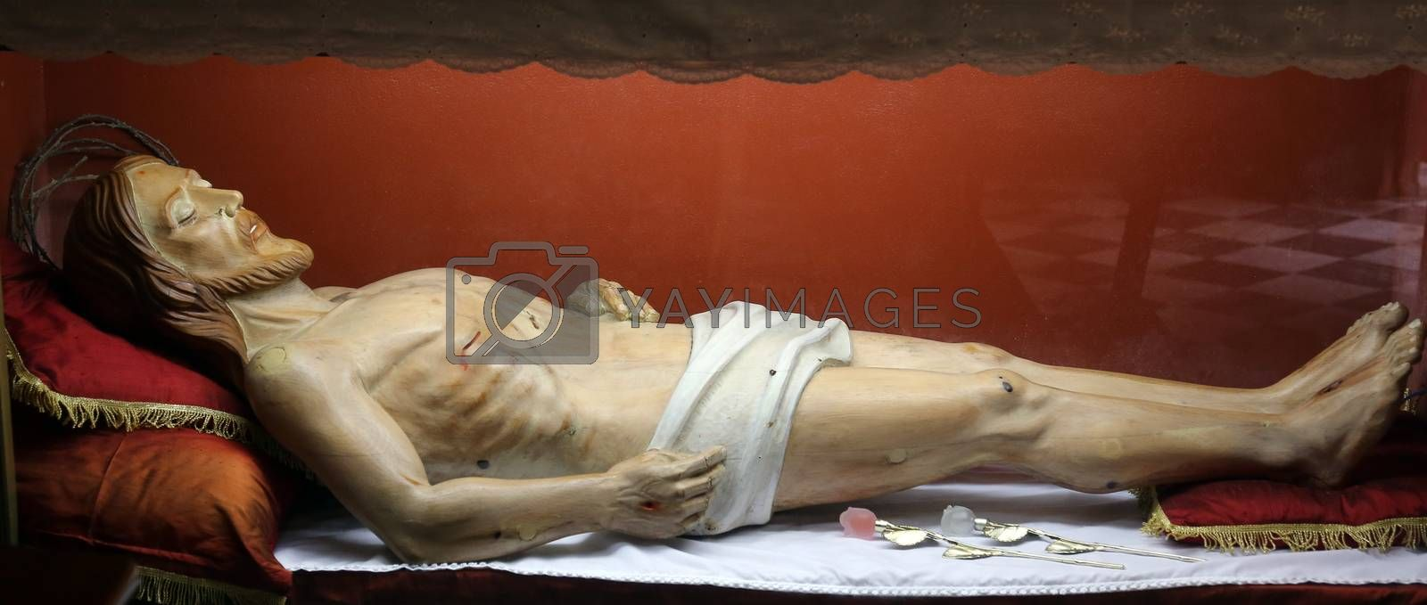 Statue of Jesus Christ in the tomb in the Church of the Holy Sacrament in Portoferraio, Elba, Italy on May 03, 2014 Portoferraio, Italy