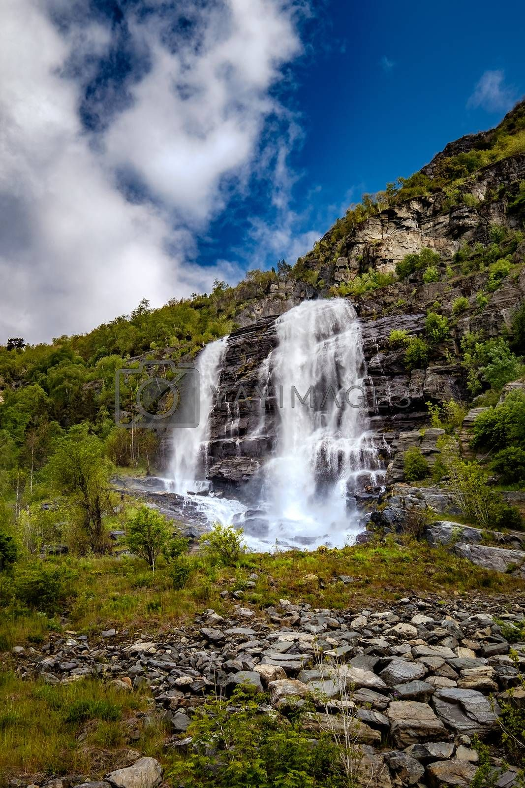 Beautiful Nature Norway natural landscape. Waterfall Norway.
