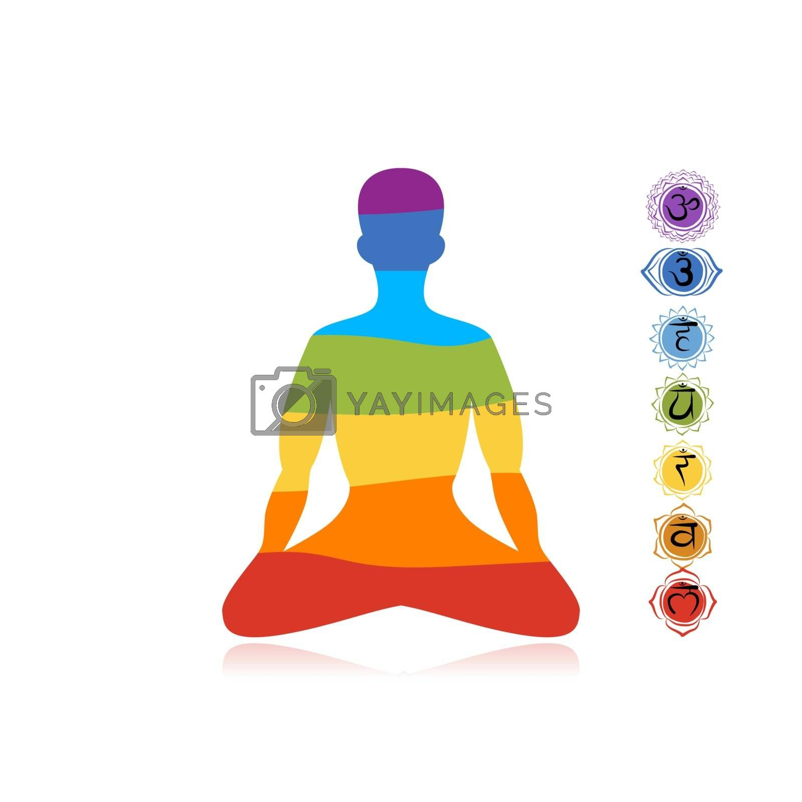Yoga lotus pose with chakras for your design. Vector illustration