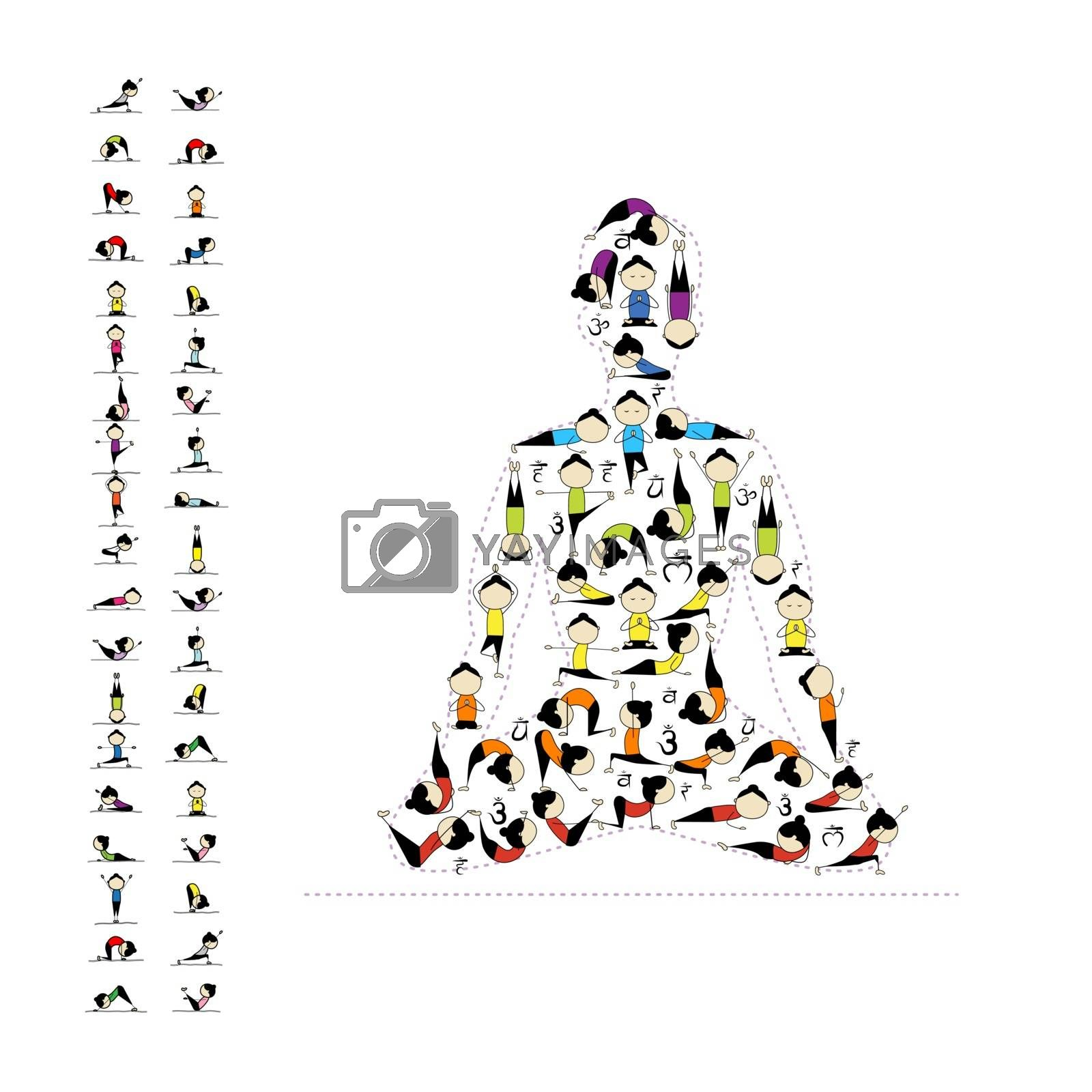 Yoga lotus pose made from asanas for your design. Vector illustration