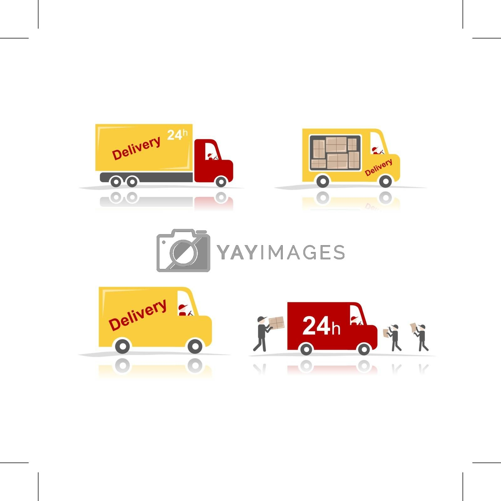 Delivery cars, set for your design. Vector illustration