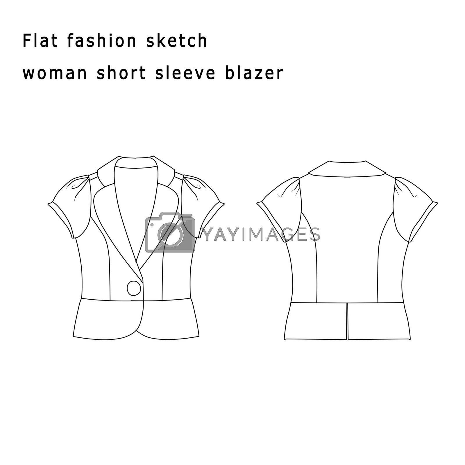 Fashion Illustration - Fashion Flat template - Woman short Blazer by GGillustrations