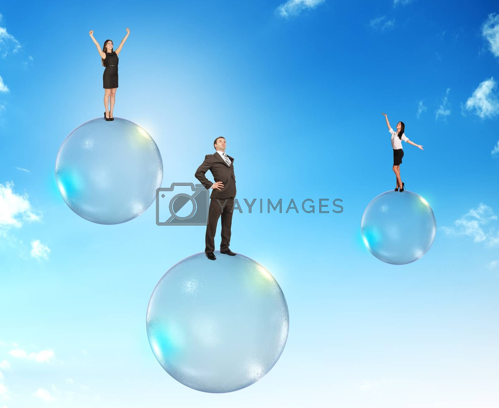 Set of businessmen on bubbles flying in sky with clouds