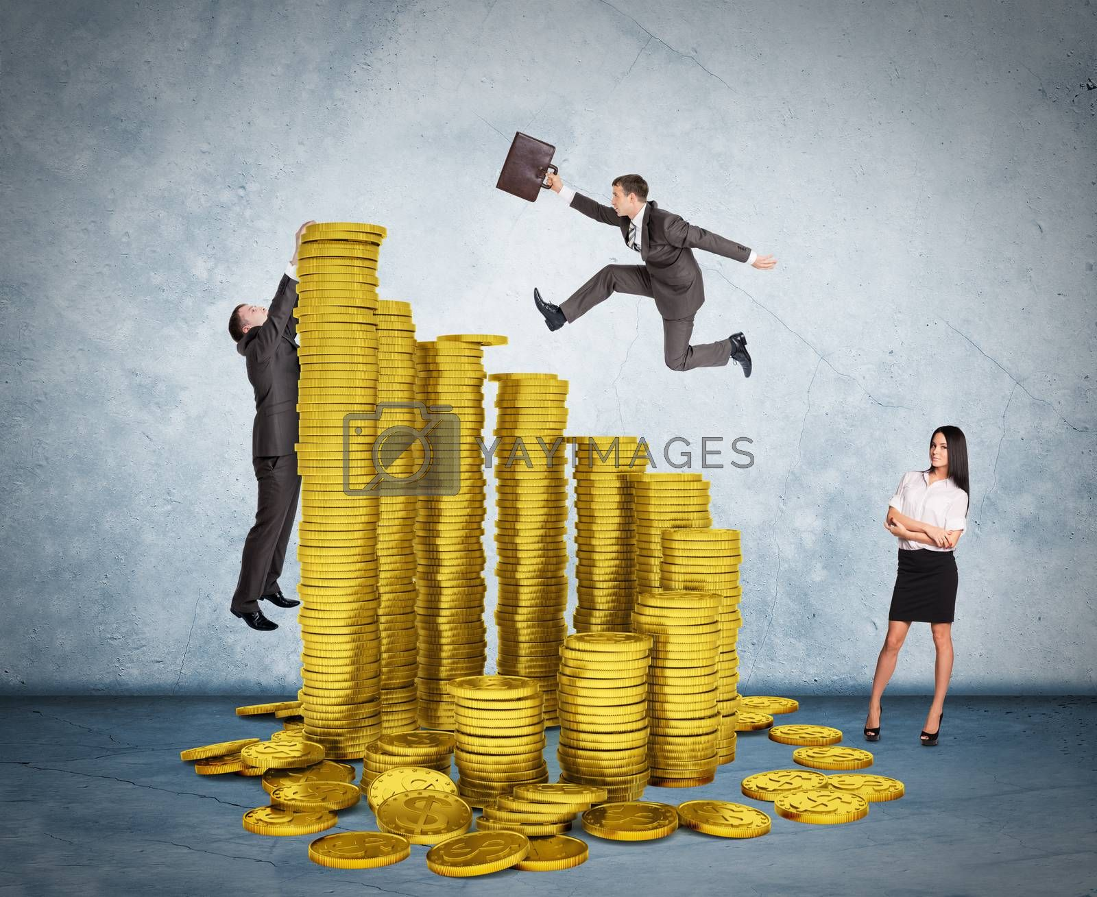 Businessman running on stack of coins on grey background