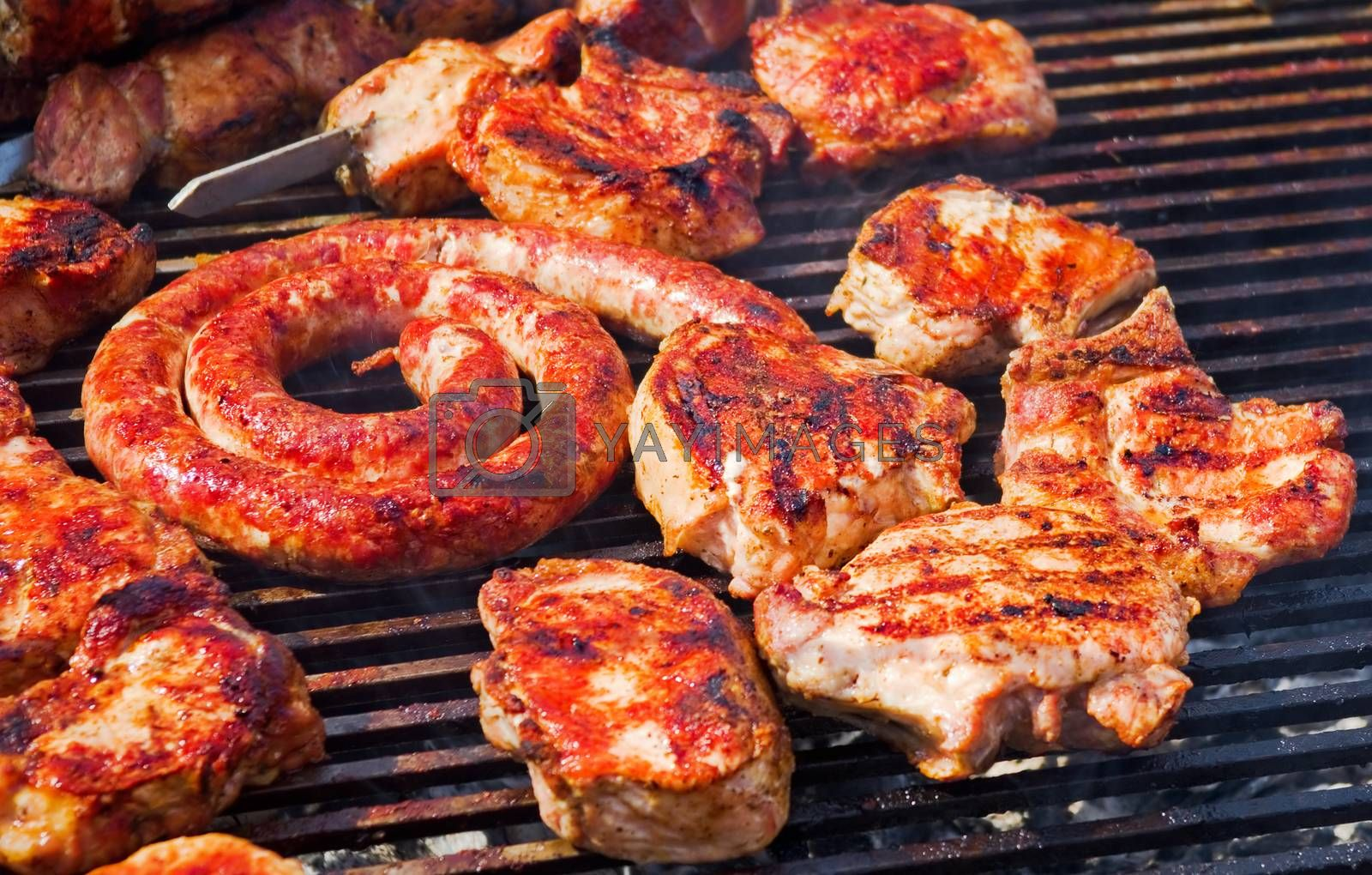 roasted meat on the grill