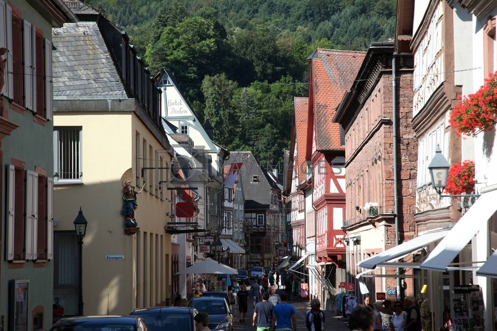 Half-timbered old house in Miltenberg, Germany on July 20, 2013.