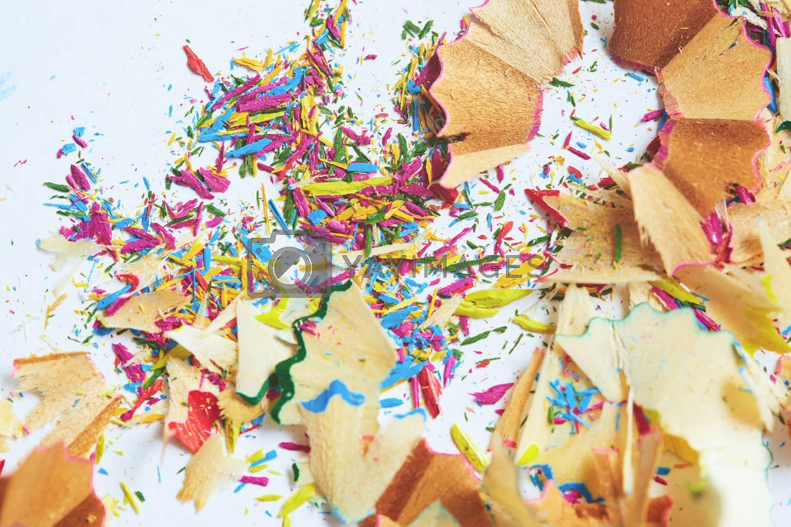 Colored pencils trash. Close-up horizontal photo