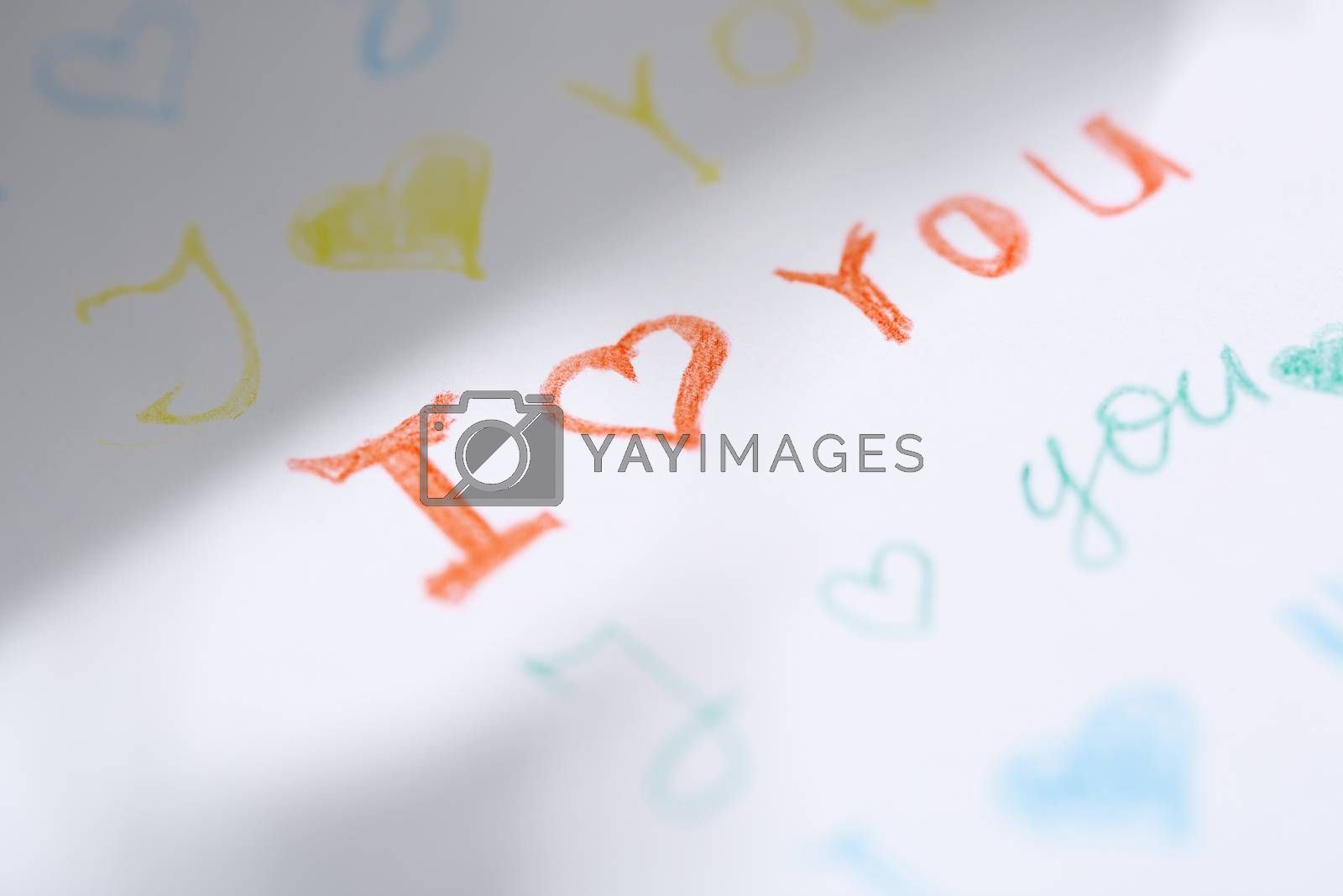 Paper with love you message. Close-up view