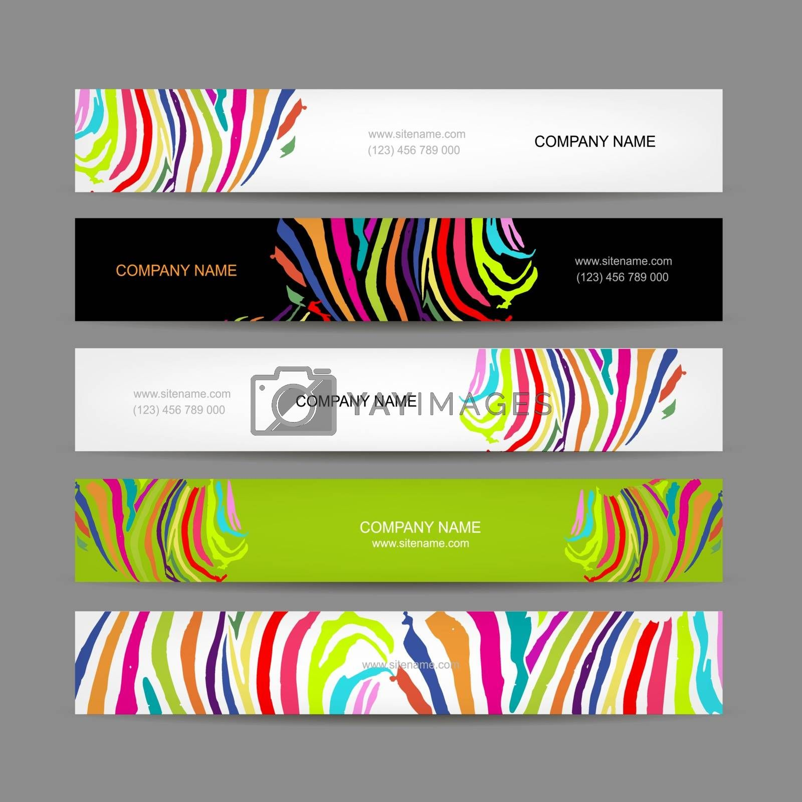 Set of banners, colorful zebra print design, vector illustration