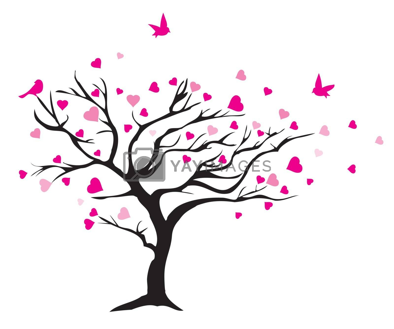 vector illustration of a valentine tree with hearts and birds