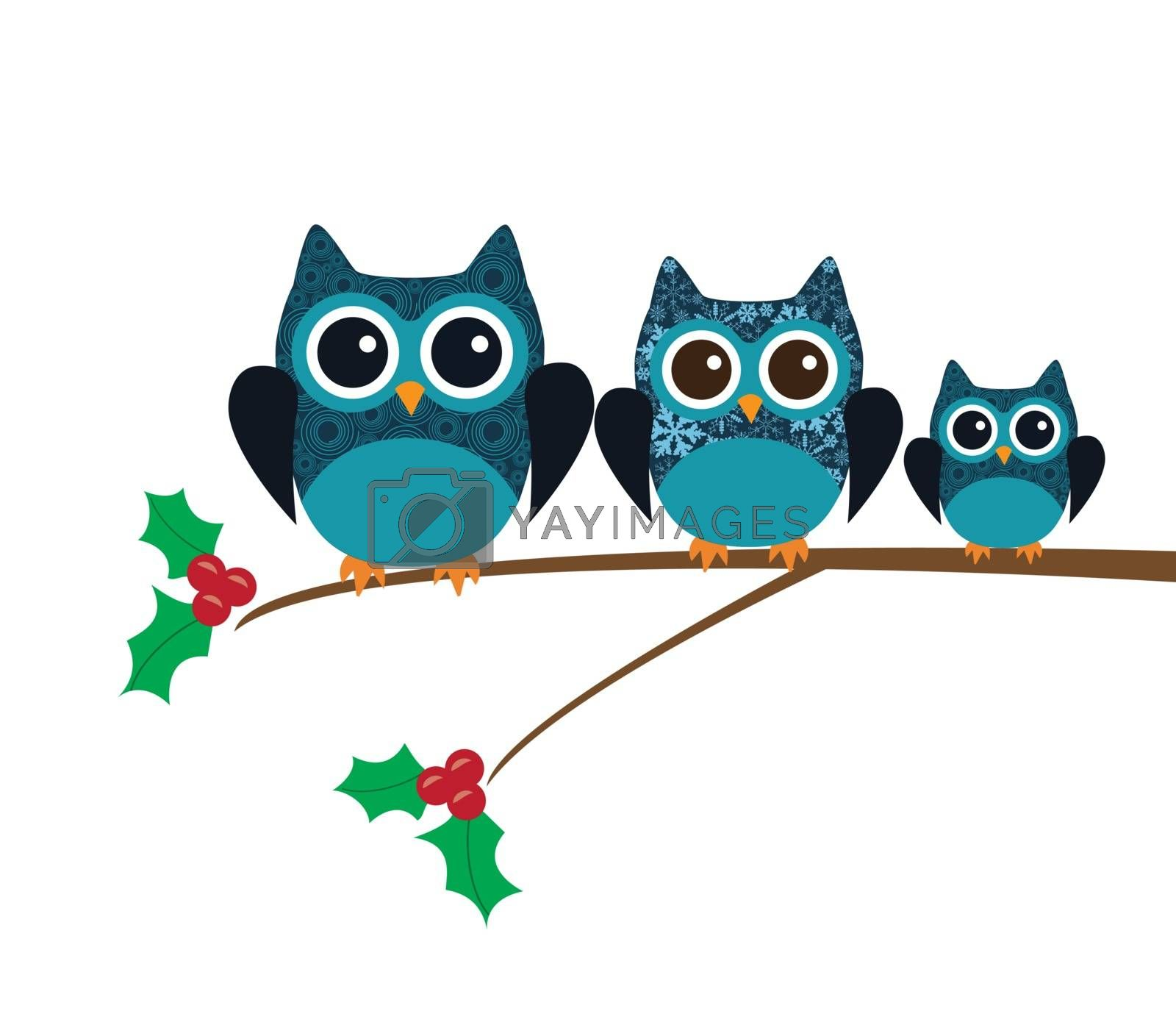 vector illustration of fun owl Christmas card