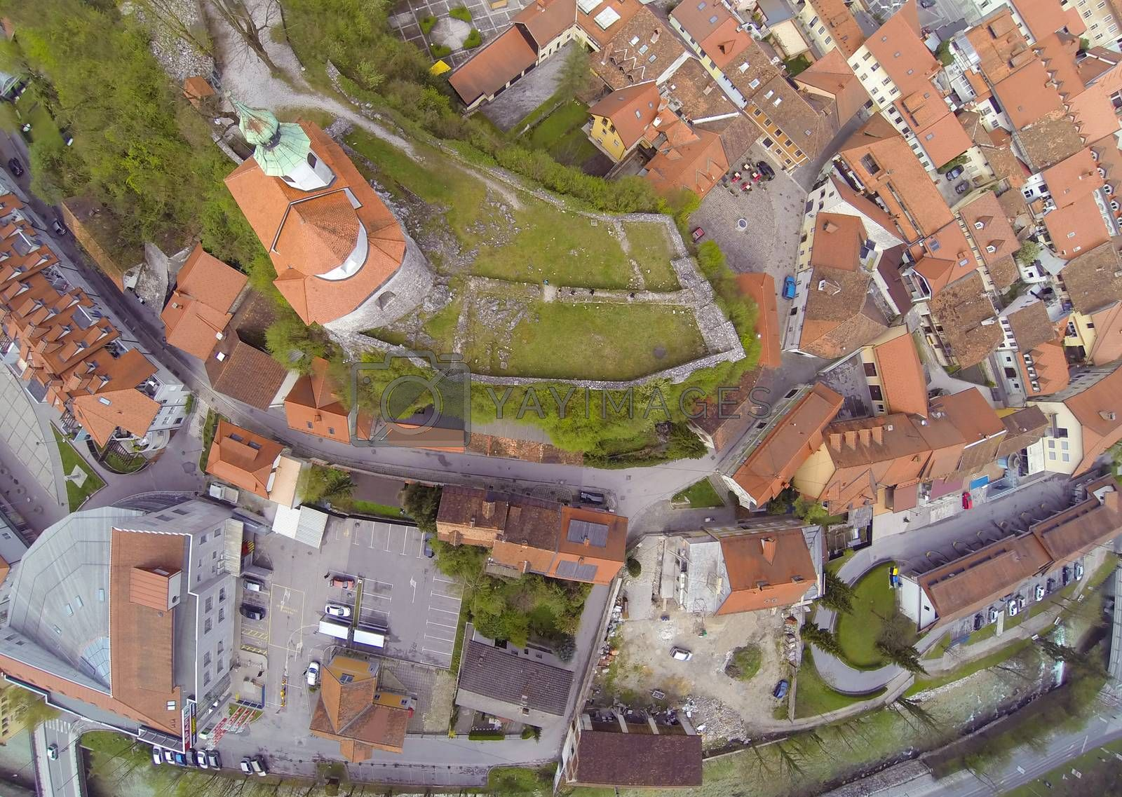 Aerial view on smal town Kamnik in Slovenia